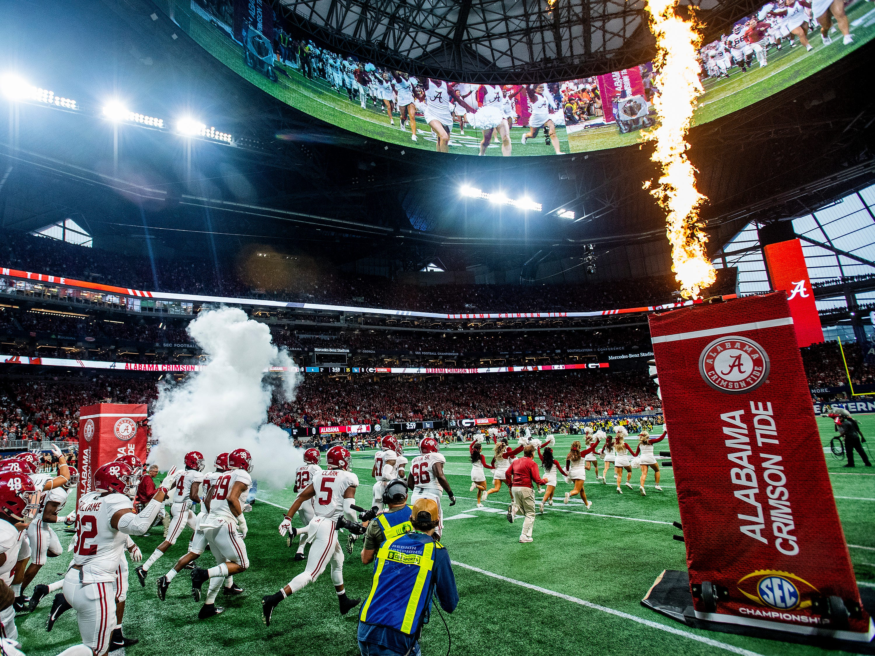 Alabama takes the field against Georgia in the SEC Championship Game at Mercedes Benz Stadium in Atlanta, Ga., on Saturday December 1, 2018.