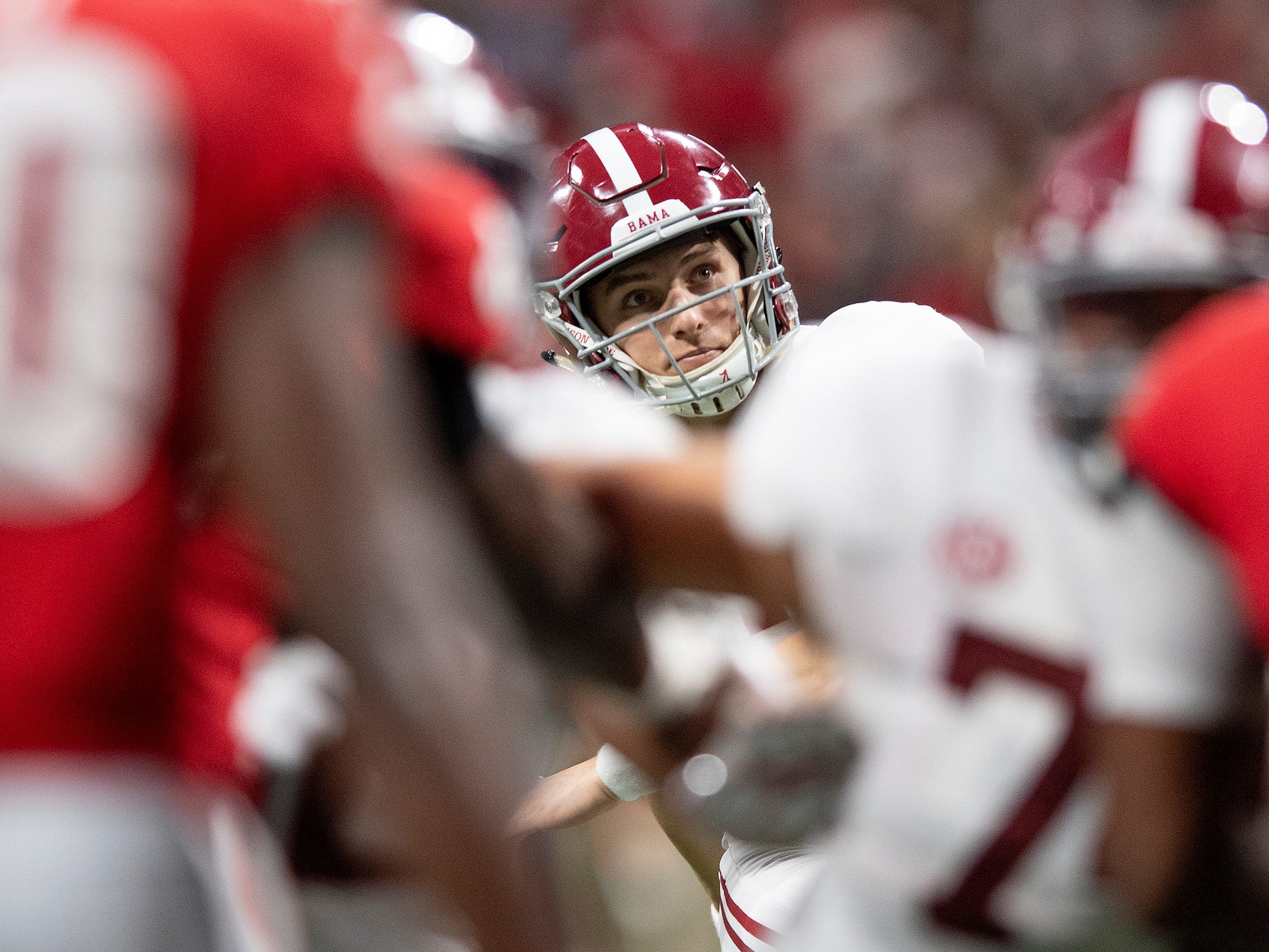 Alabama kicker Joseph Bulovas (97) kicks an extra point against Georgia during first half action of the SEC Championship Game at Mercedes Benz Stadium in Atlanta, Ga., on Saturday December 1, 2018.