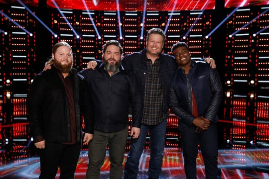 Team Blake made it through to the top 10 with no cuts on Tuesday, Nov. 27. From left are Chris Kroeze, Dave Fenley, coach Blake Shelton, and Montgomery resident Kirk Jay.