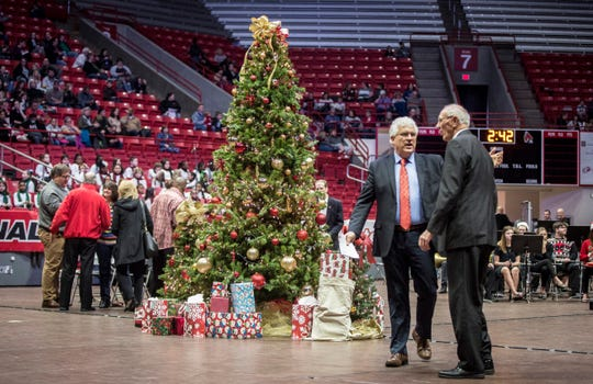 A Christmas tree decorates the floor of Worthen Arena during the 2018 Muncie Community Christmas Sing.