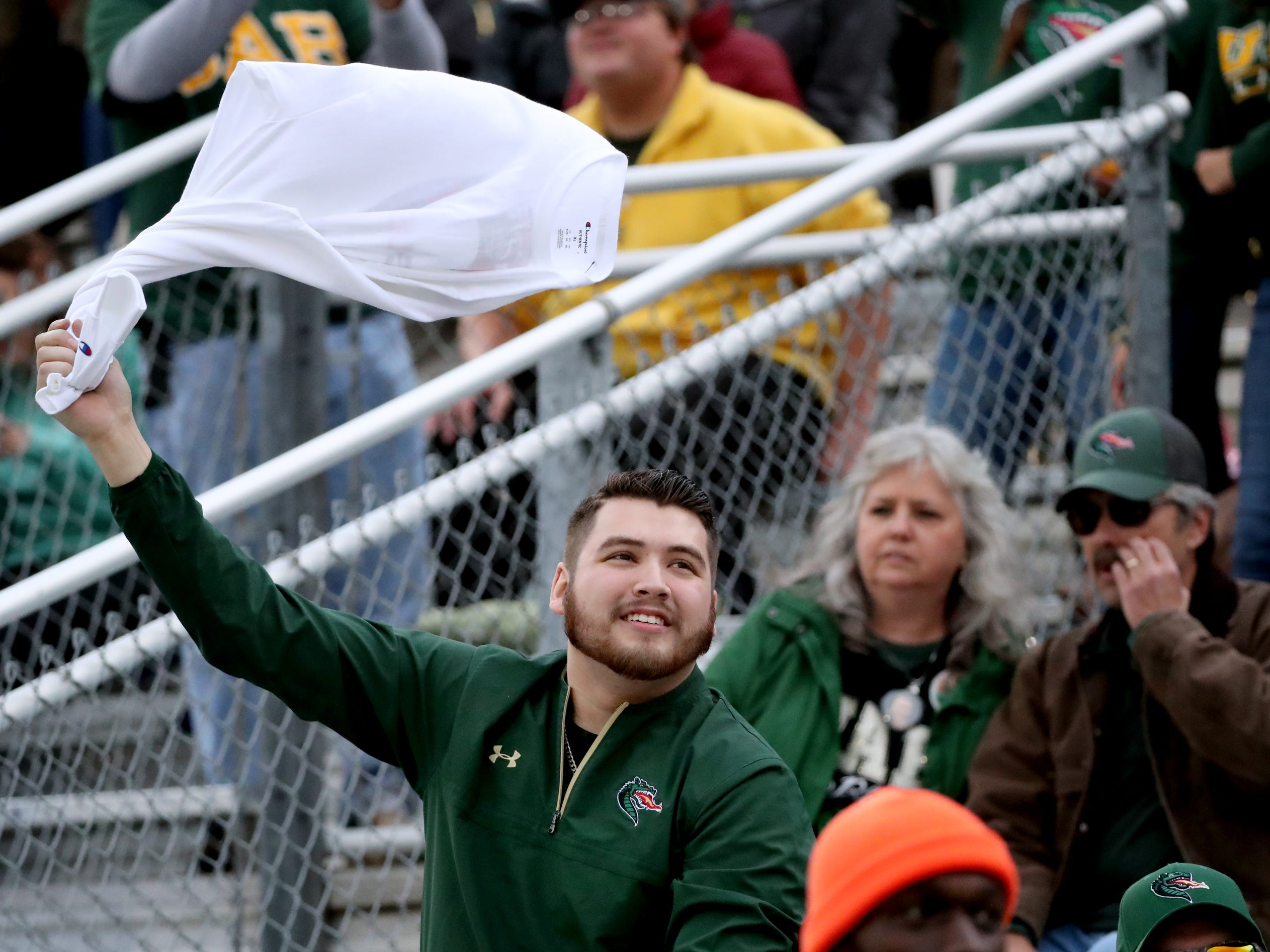 UAB fan cheers during the Conference USA Championship game against MTSU at MTSU on Saturday, Dec. 1, 2018.
