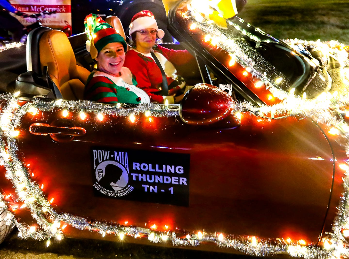 Denise Frazier and Felisha Conaway ride in La Vergne's 2018 Christmas Parade of Lights, held Saturday, Dec. 1, 2018.