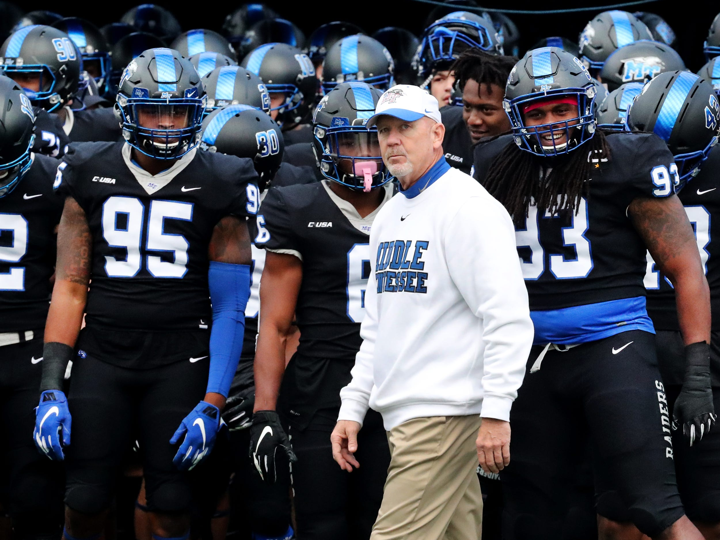 MTSU's head coach Rick Stockstill with the players before they run onto the field for the Conference USA Championship game against UAB at MTSU on Saturday, Dec. 1, 2018.