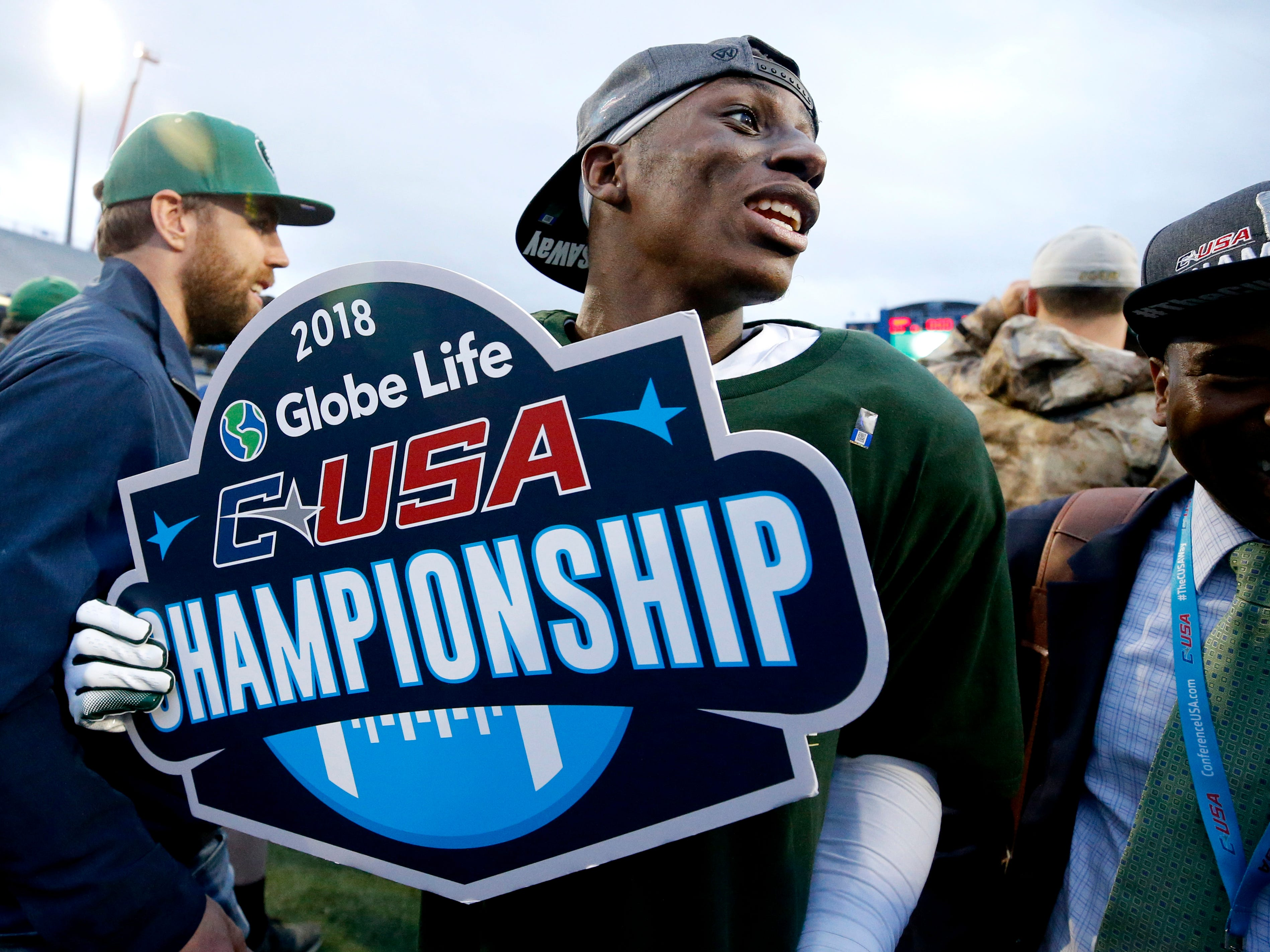 UAB's wide receiver Kendall Parham (16) celebrates the 27-25 win over MTSU in the Conference USA Championship at MTSU on Saturday, Dec. 1, 2018.