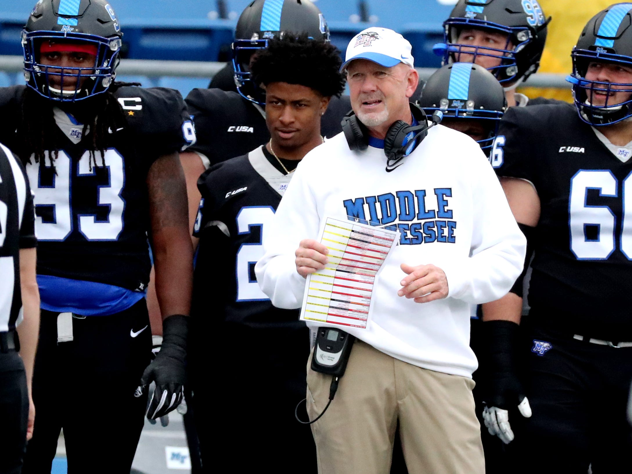 MTSU's head coach Rick Stockstill on the sidelines during the Conference USA Championship game against UAB at MTSU on Saturday, Dec. 1, 2018.
