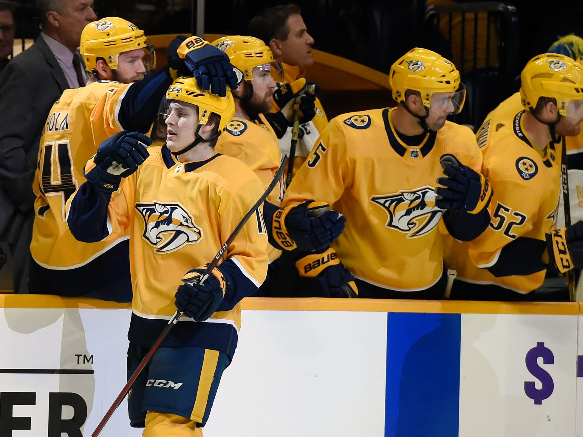 Dec. 1: Predators 5, Blackhawks 2 -- Nashville Predators defenseman Eeli Tolvanen (11), of Finland, is congratulated after scoring a goal against the Chicago Blackhawks during the first period of an NHL hockey game Saturday, Dec. 1, 2018, in Nashville, Tenn.