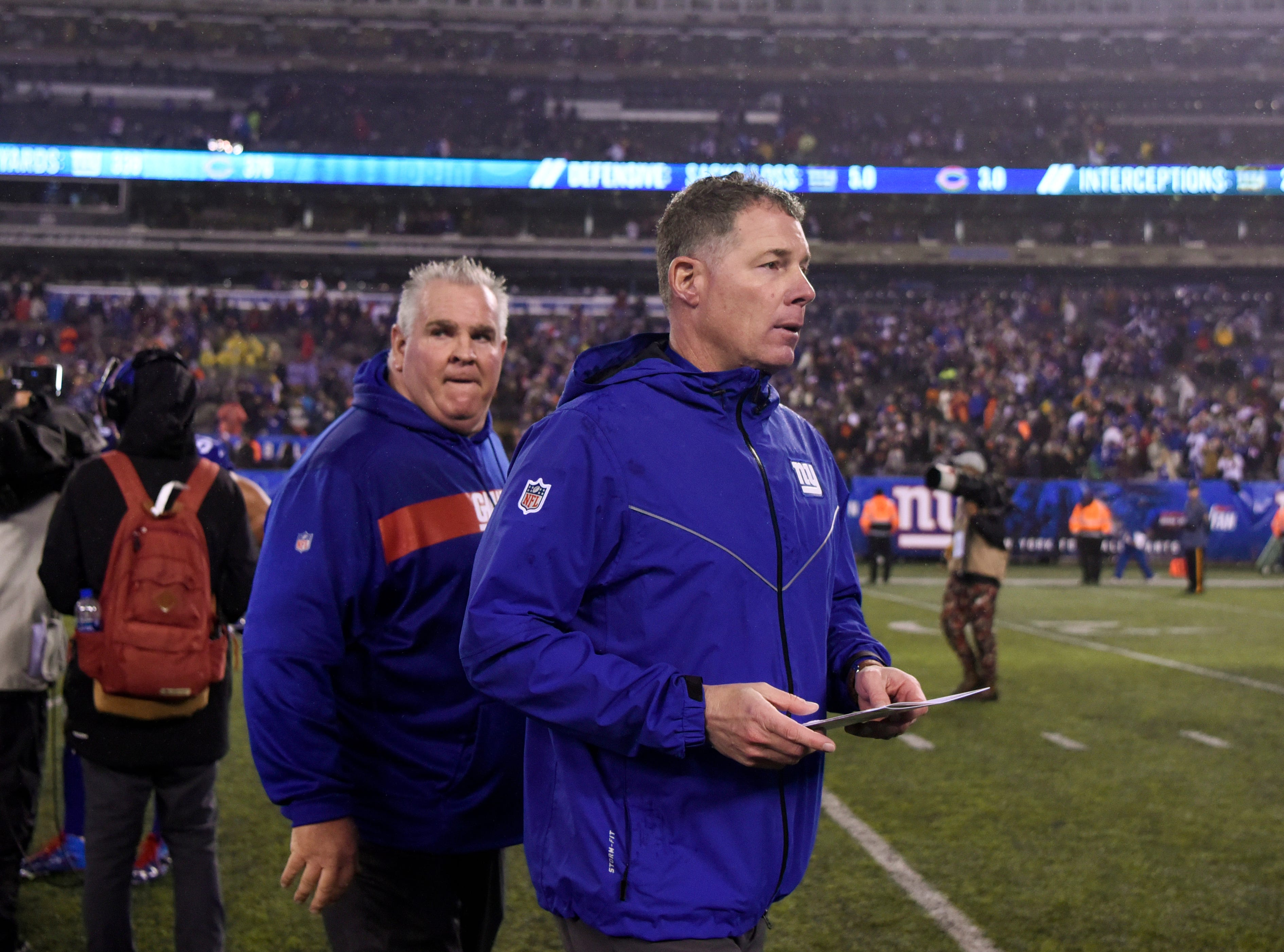 New York Giants head coach Pat Shurmur walks off the field after his team defeats the Chicago Bears in overtime on Sunday, Dec. 2, 2018, in East Rutherford.