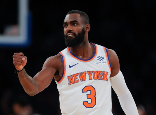 New York Knicks guard Tim Hardaway Jr. (3) reacts during the fourth quarter of an NBA basketball game against the Milwaukee Bucks, Saturday, Dec. 1, 2018, in New York. The Knicks won in overtime 136-134.