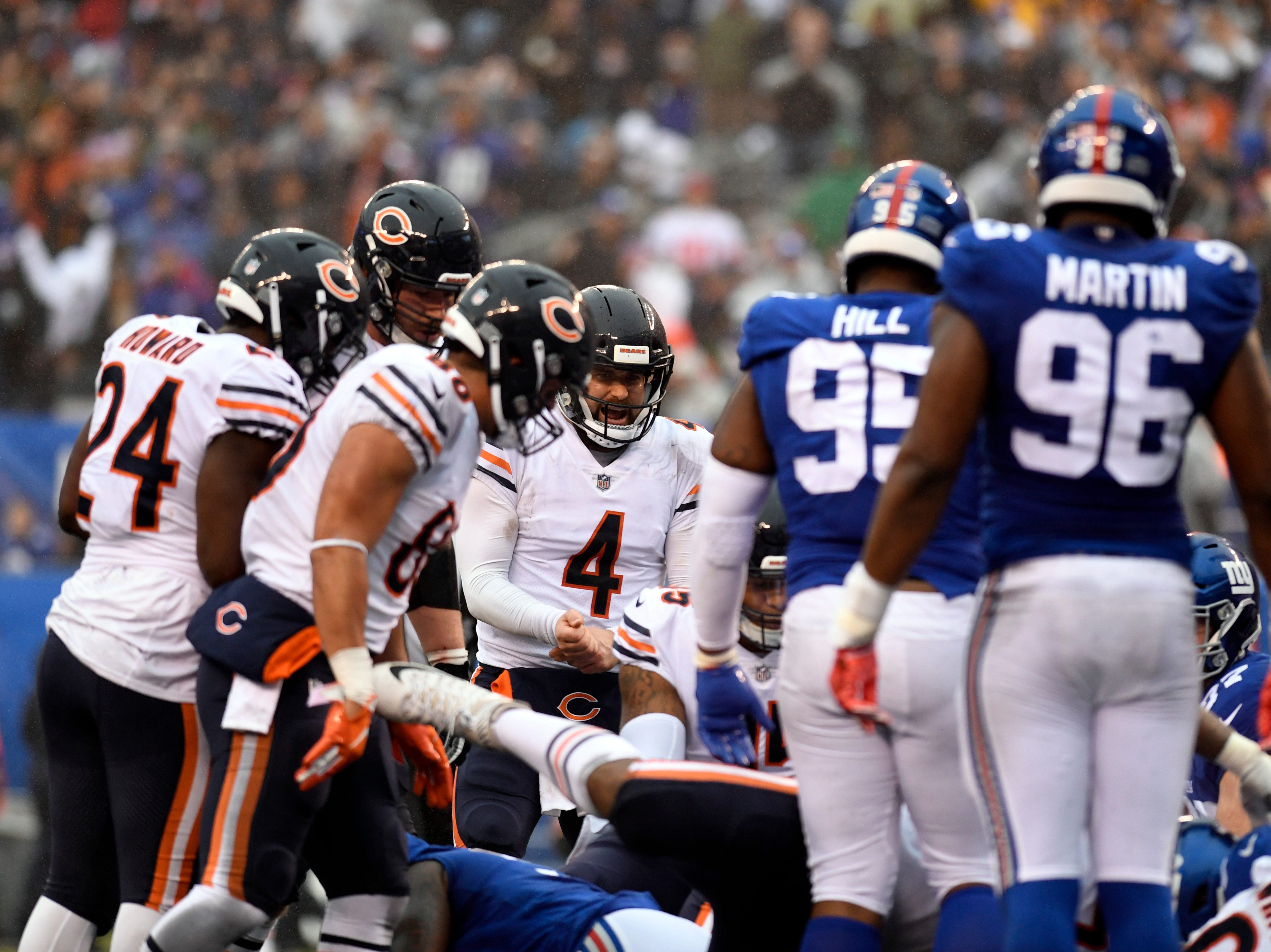 Chicago Bears quarterback Chase Daniel (4) celebrates a touchdown in the first half. The New York Giants face the Chicago Bears on Sunday, Dec. 2, 2018, in East Rutherford.