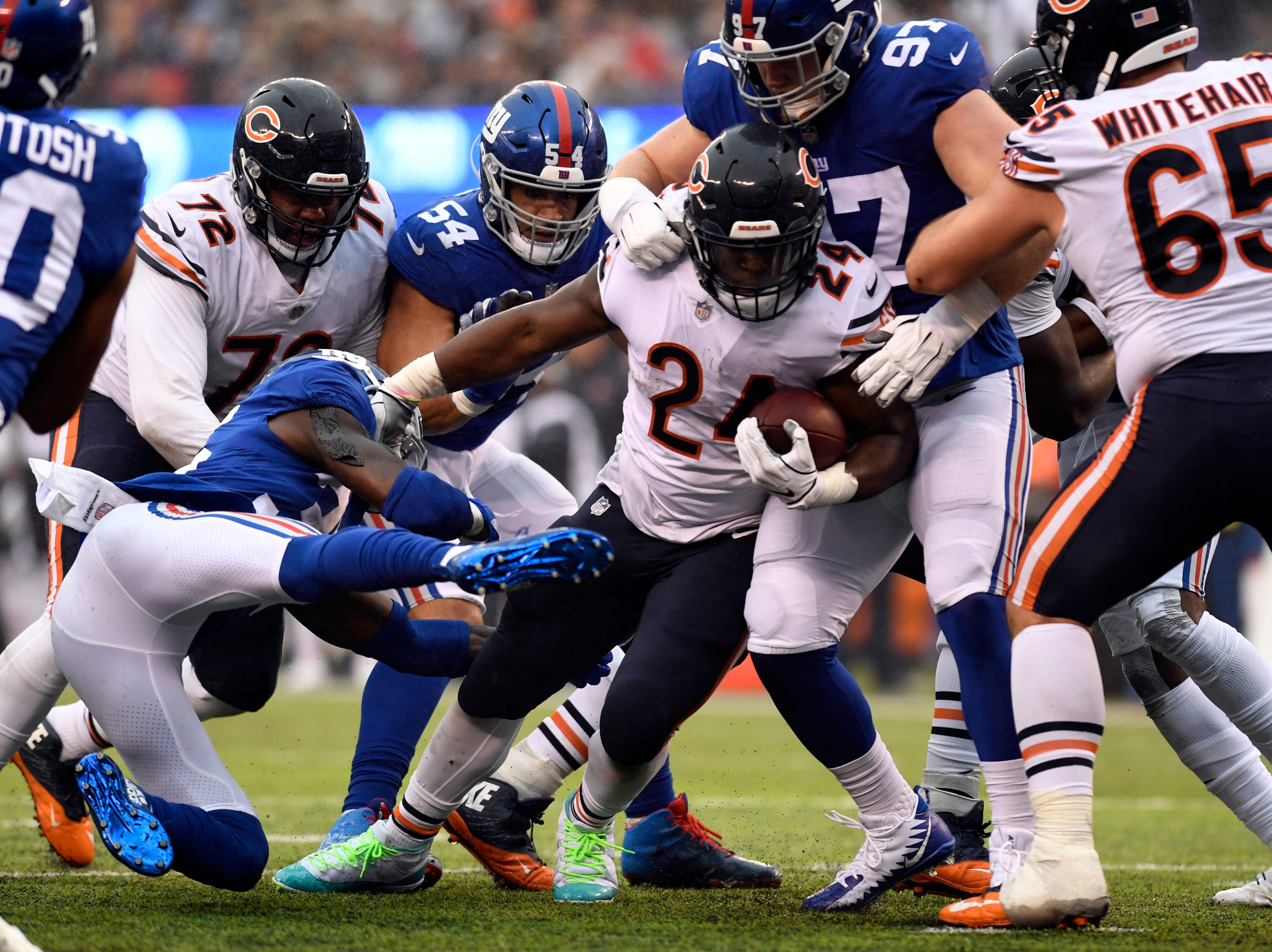 Chicago Bears running back Jordan Howard (24) is stopped short of a touchdown in the first half. The New York Giants face the Chicago Bears on Sunday, Dec. 2, 2018, in East Rutherford.