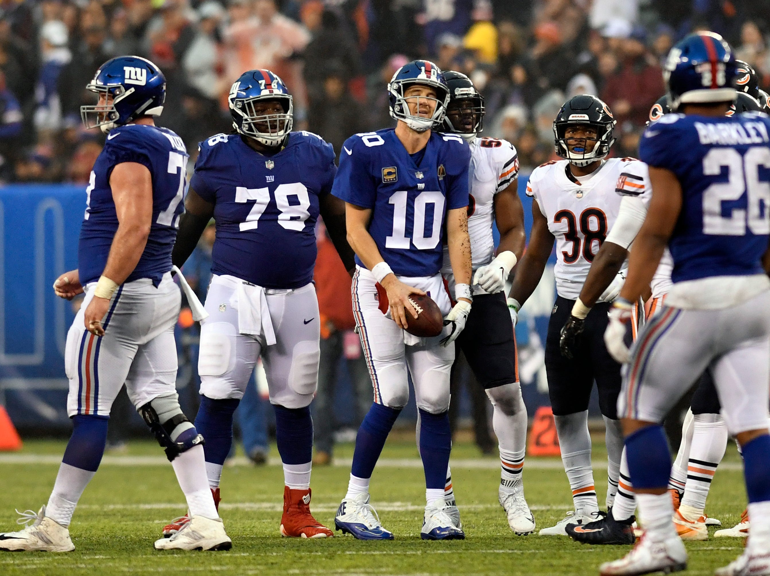 New York Giants quarterback Eli Manning (10) reacts after being sacked in the second half. The New York Giants defeat the Chicago Bears in overtime 30-27 on Sunday, Dec. 2, 2018, in East Rutherford.