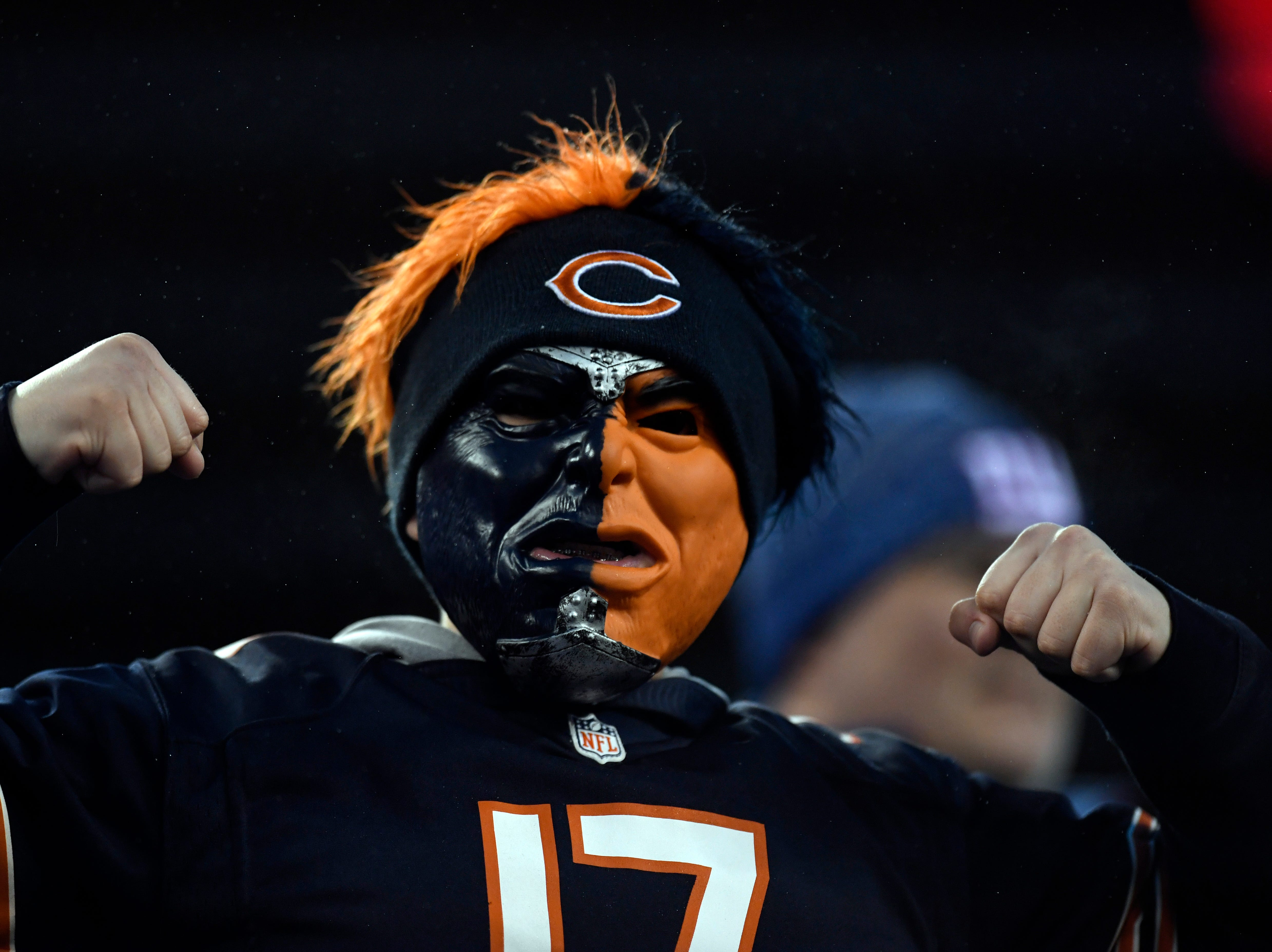 A Chicago Bears fan. The New York Giants defeat the Chicago Bears in overtime 30-27 on Sunday, Dec. 2, 2018, in East Rutherford.
