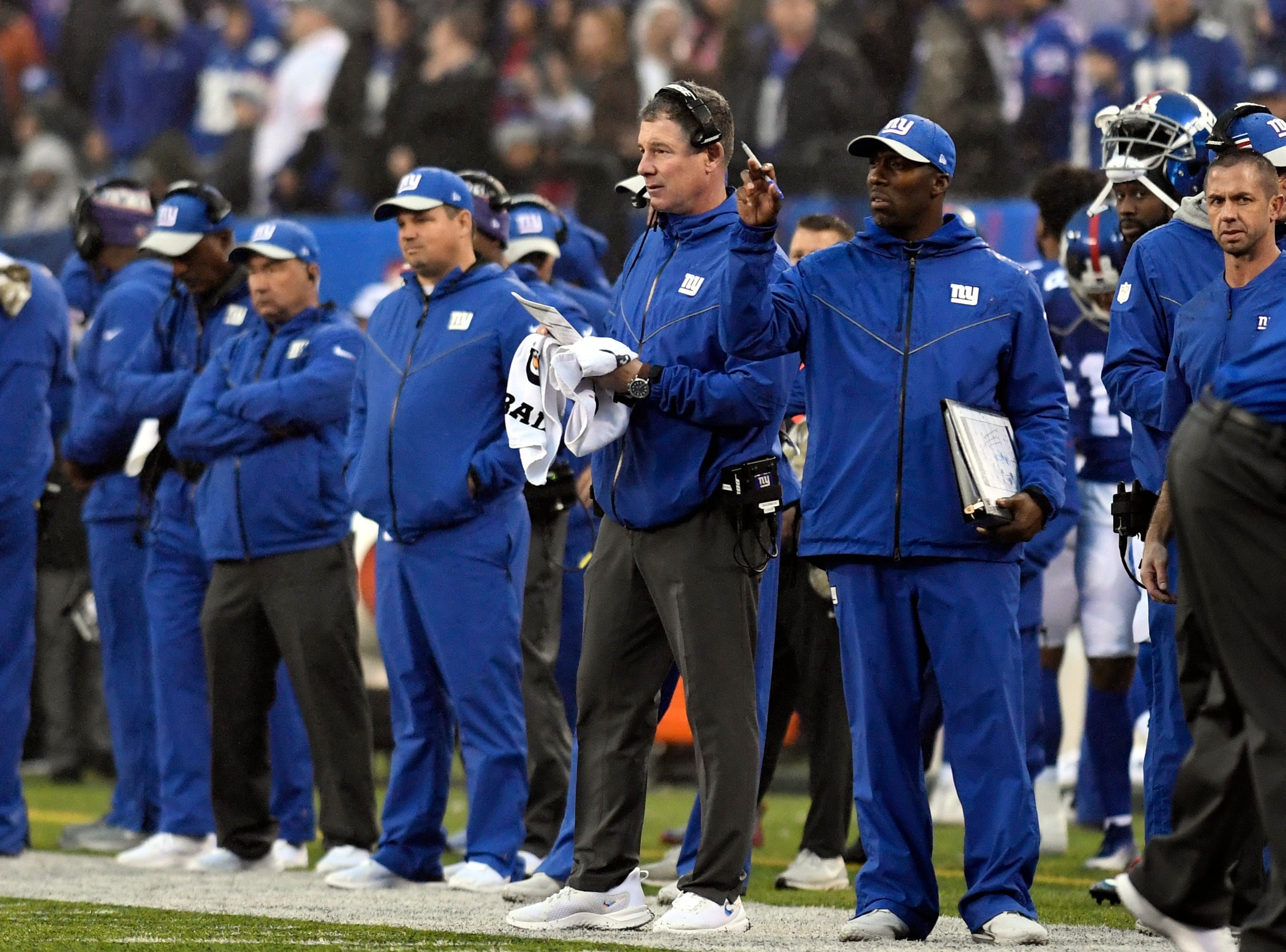 New York Giants head coach Pat Shurmur (headset) on the sideline in the second half. The New York Giants defeat the Chicago Bears in overtime 30-27 on Sunday, Dec. 2, 2018, in East Rutherford.