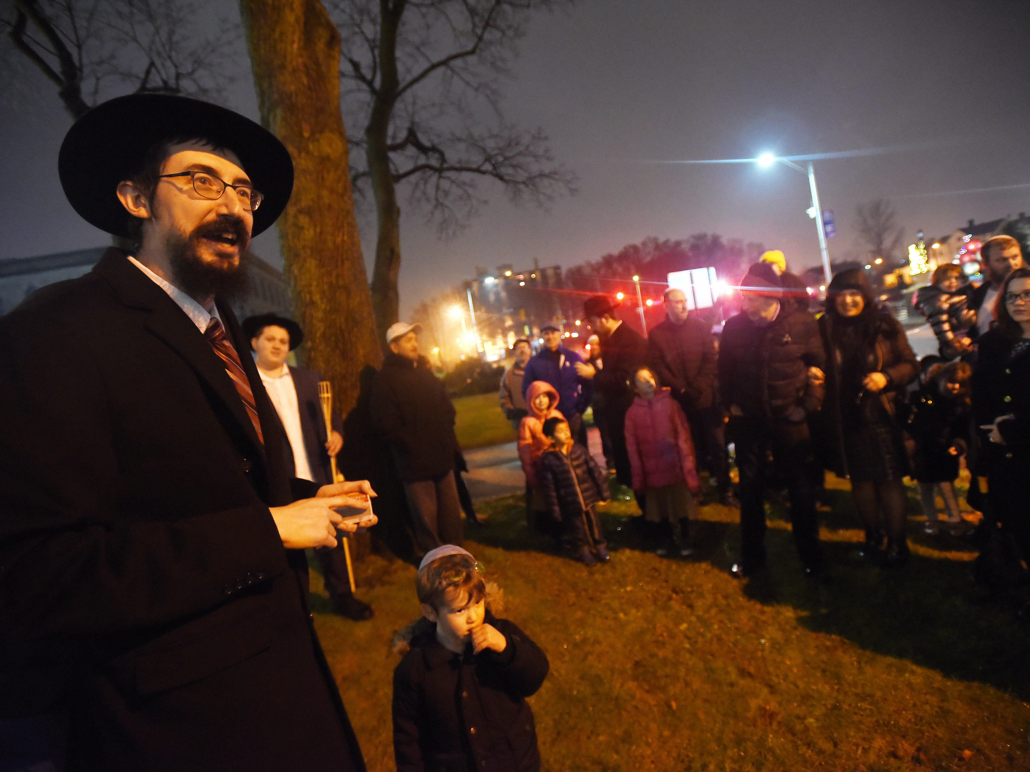 Rabbi Mendy Kaminker from Chabad of Hackensack, speaks to participants prior the lighting ceremony to celebrate the 2018 Hanukkah season at the front lawn of Bergen County Courthouse in Hackensack on 12/02/18.