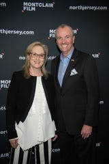 "Gov. Phil Murphy and Meryl Streep at ""An Evening with Stephen Colbert and Meryl Streep,"" a benefit for Montclair Film, at NJPAC in Newark on Dec. 1, 2018."