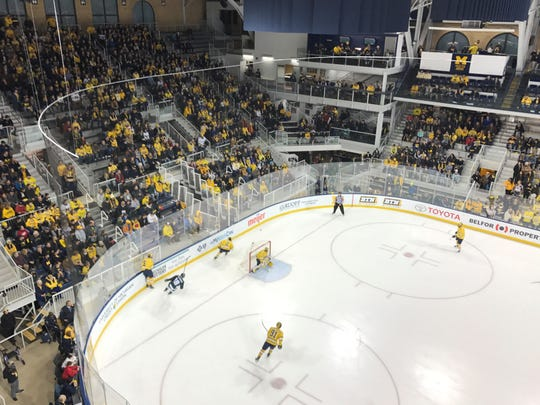 Yost Ice Arena in Ann Arbor hosted a Big Ten rivalry hockey game between U-M and Michigan State.