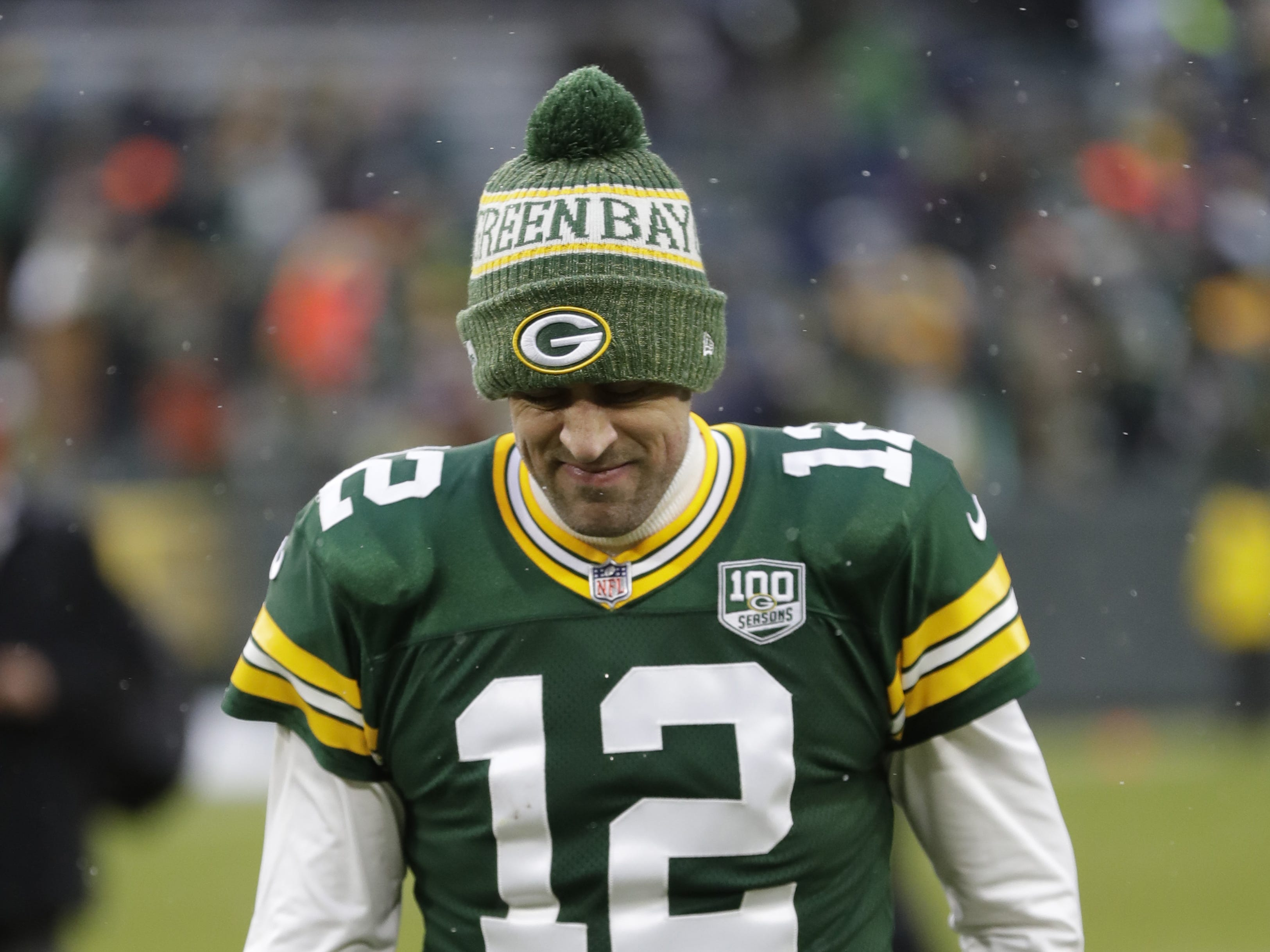Green Bay Packers quarterback Aaron Rodgers (12) leaves the field following a 20-17 loss against the Arizona Cardinals Sunday, December 2, 2018, at Lambeau Field in Green Bay, Wis.  Dan Powers/USA TODAY NETWORK-Wisconsin