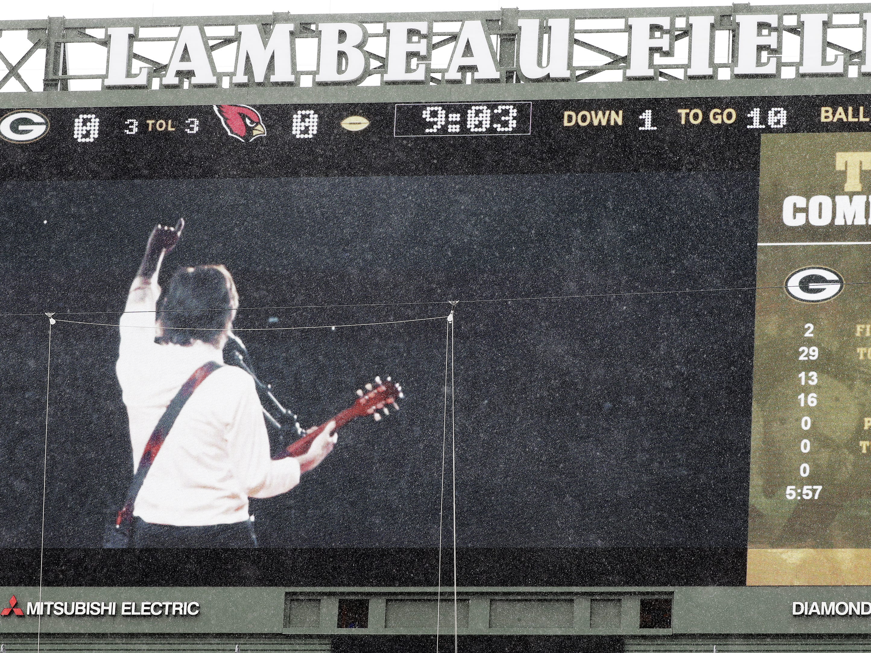 A video of Paul McCartney is played on the scoreboard during the Green Bay Packers game against the Arizona Cardinals at Lambeau Field on Sunday, December 2, 2018 in Green Bay, Wis.