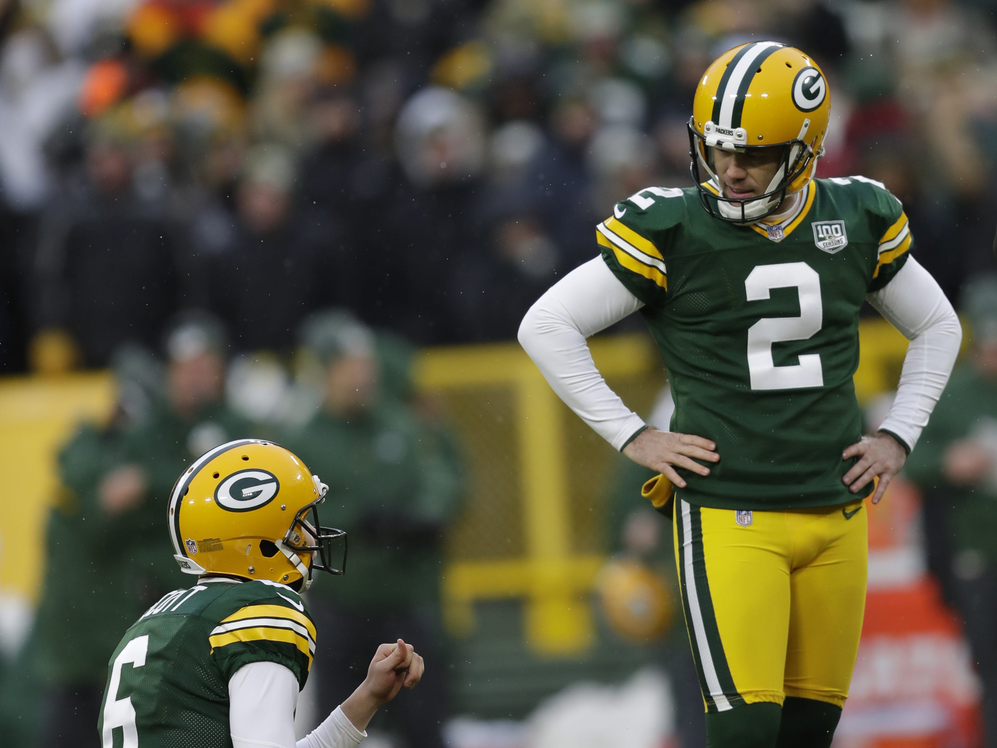 Green Bay Packers kicker Mason Crosby (2) and Green Bay Packers punter J.K. Scott (6) react to a misssing the potential game-tying fieldgoal as time expires against the Arizona Cardinals Sunday, December 2, 2018, at Lambeau Field in Green Bay, Wis.  Dan Powers/USA TODAY NETWORK-Wisconsin Sunday, December 2, 2018, at Lambeau Field in Green Bay, Wis.  Dan Powers/USA TODAY NETWORK-Wisconsin