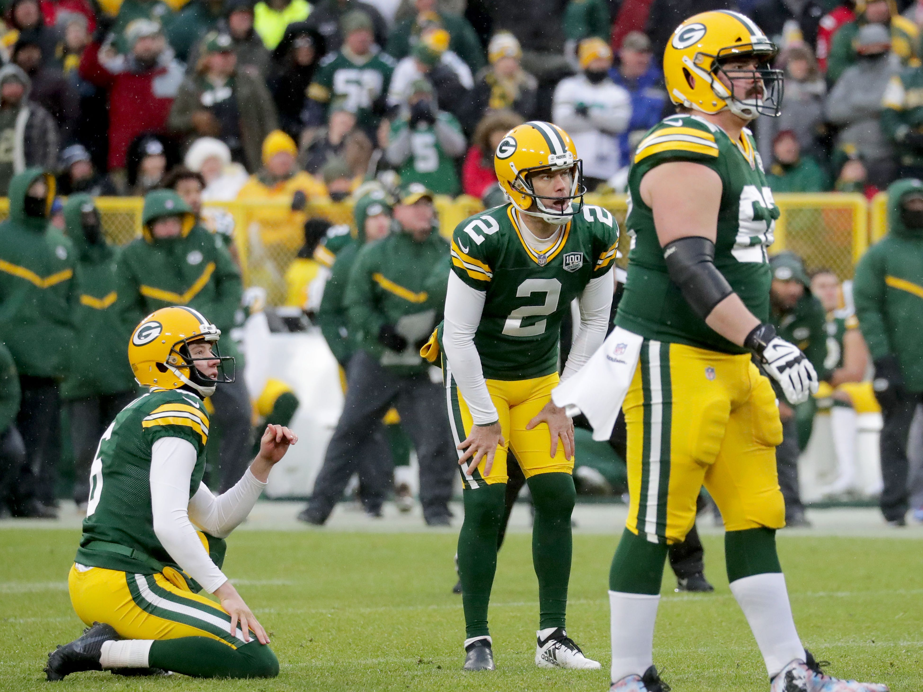 Green Bay Packers kicker Mason Crosby (2) reacts to missing a game tying field goal as time expires  during the 4th quarter of Green Bay Packers game 20-17 loss against the Arizona Cardinals on Sunday, December 2, 2018 at Lambeau Field in Green Bay, Wis. Mike De Sisti / USA TODAY NETWORK-Wis