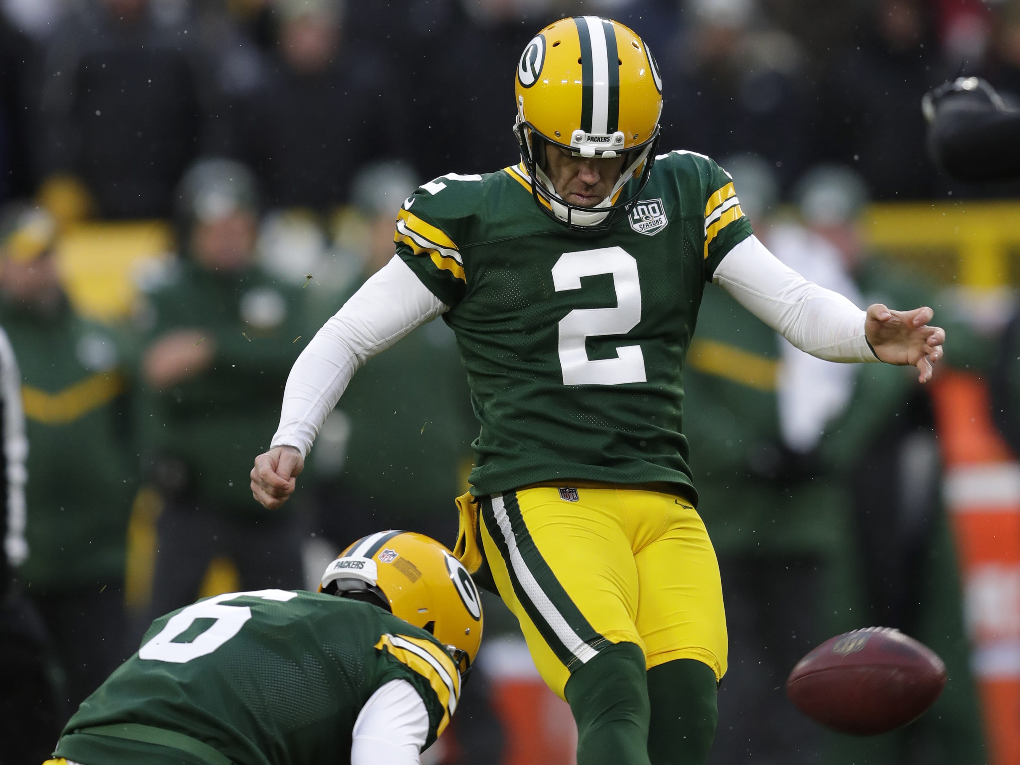 Green Bay Packers kicker Mason Crosby (2) misses the potential game-tying fieldgoal as time expires against the Arizona Cardinals Sunday, December 2, 2018, at Lambeau Field in Green Bay, Wis.  Dan Powers/USA TODAY NETWORK-Wisconsin