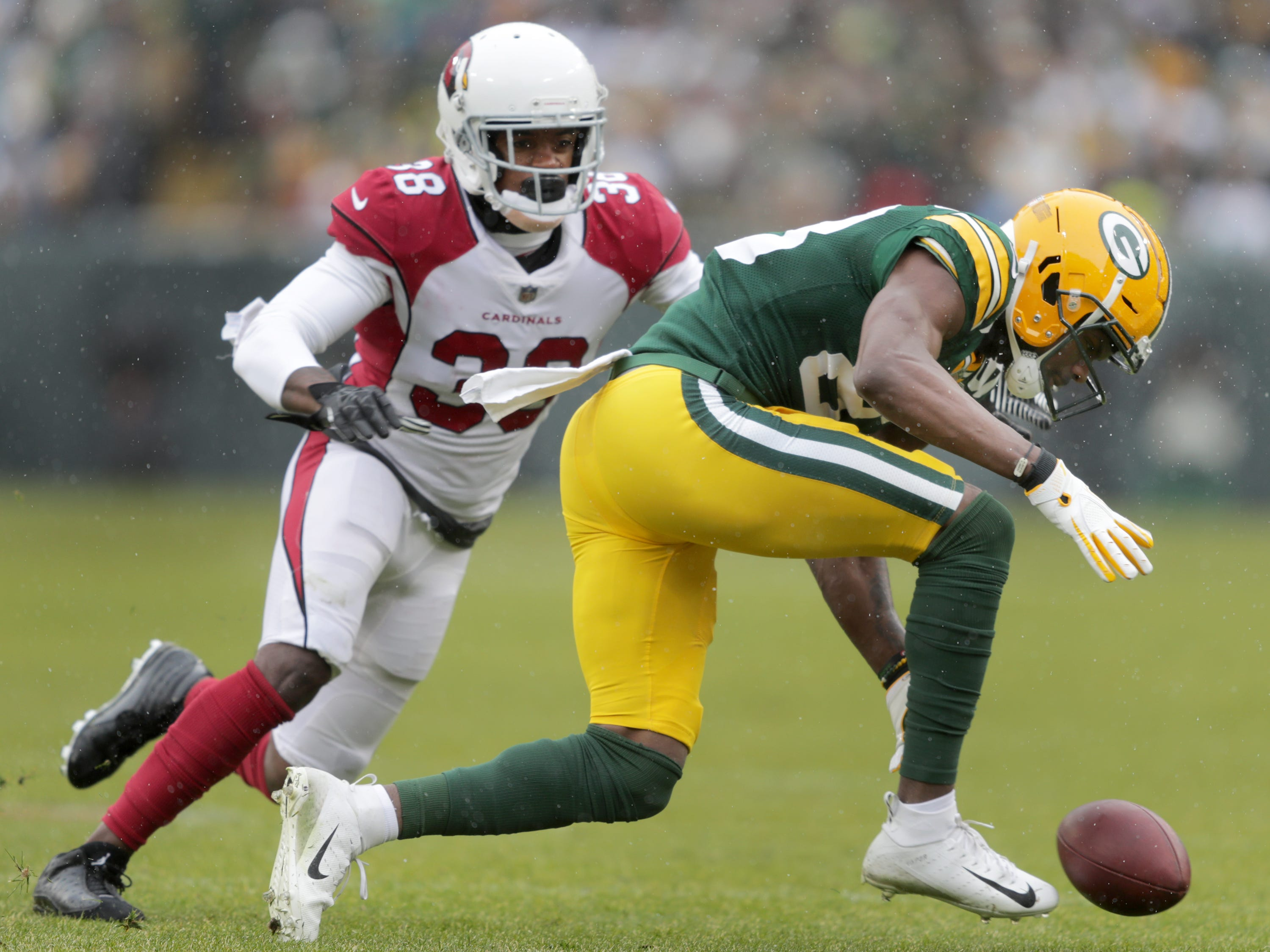 Green Bay Packers wide receiver Marquez Valdes-Scantling agfainst Arizona Cardinals defensive back David Amerson during their football game on Sunday, December 2, 2018, at Lambeau Field in Green Bay, Wis. Wm. Glasheen/USA TODAY NETWORK-Wisconsin.