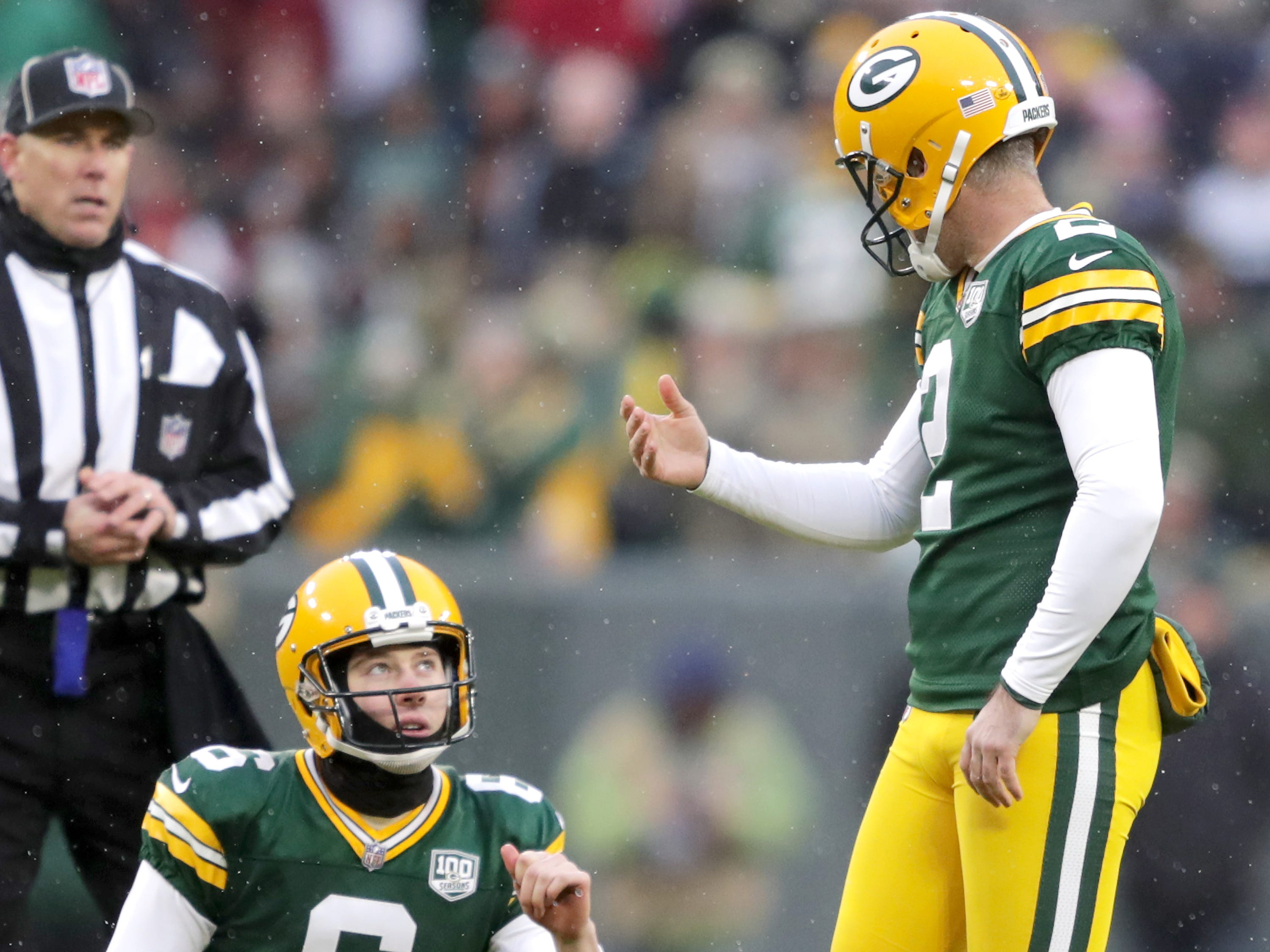 Green Bay Packers kicker Mason Crosby and punter/holder J.K. Scott react following a missed field goal ending the game against the Arizona Cardinals during on Sunday, December 2, 2018, at Lambeau Field in Green Bay, Wis. Arizona defeated Green Bay 20 to 17. Wm. Glasheen/USA TODAY NETWORK-Wisconsin.