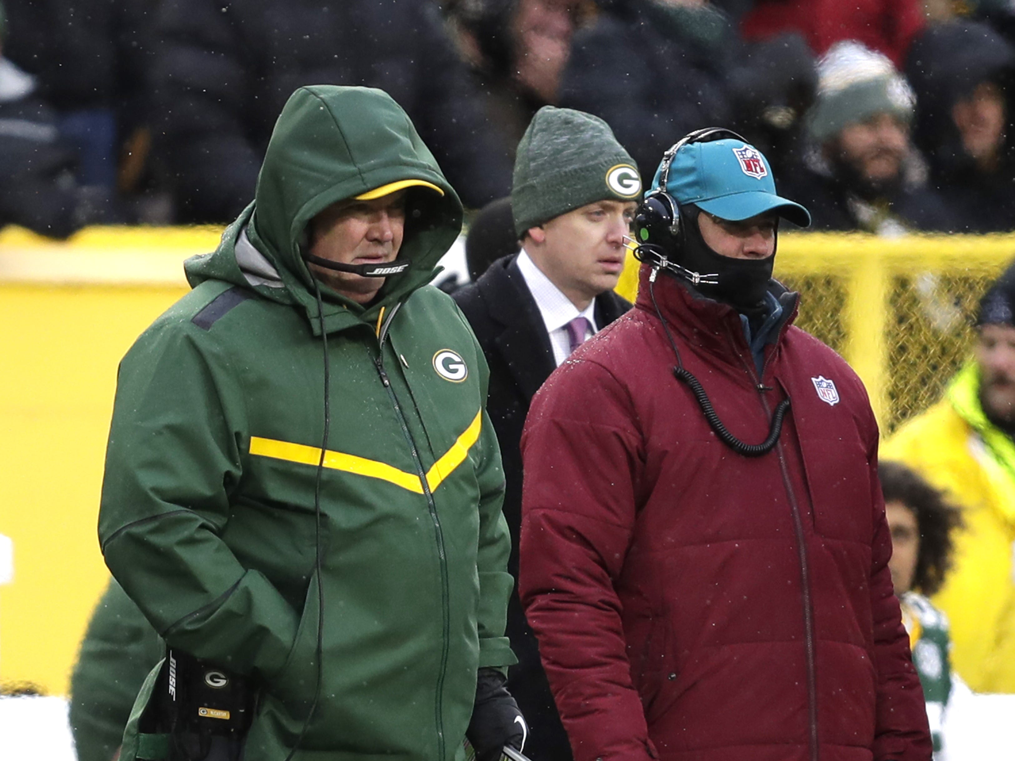 Green Bay Packers coach Mike McCarthy works the sidelines as the team plays against the Arizona Cardinals Sunday, December 2, 2018, at Lambeau Field in Green Bay, Wis.