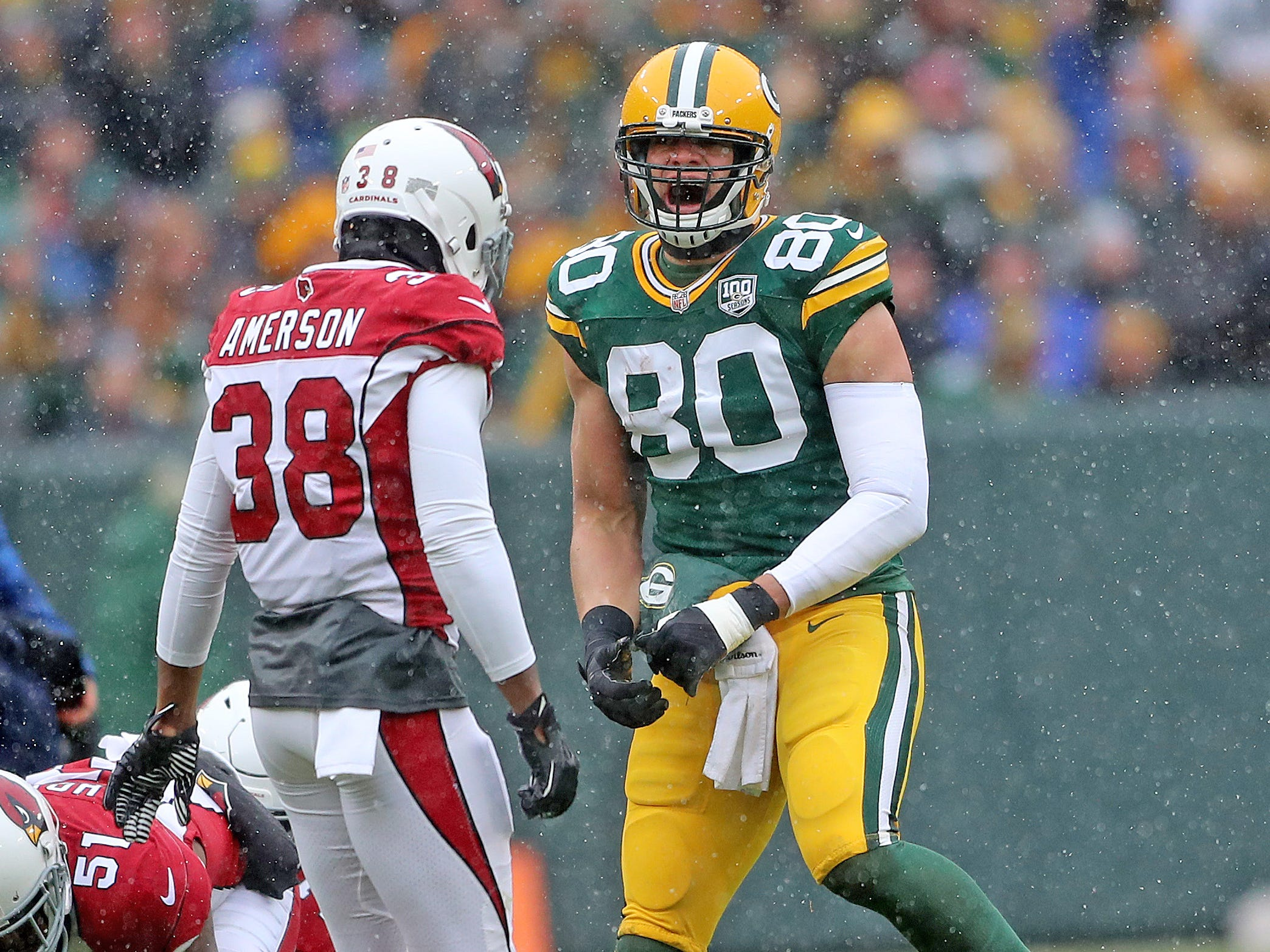 Green Bay Packers tight end Jimmy Graham (80) shouts after a catch and run against the Arizona Cardinals Sunday, December 2, 2018 at Lambeau Field in Green Bay, Wis. Jim Matthews/USA TODAY NETWORK-Wis