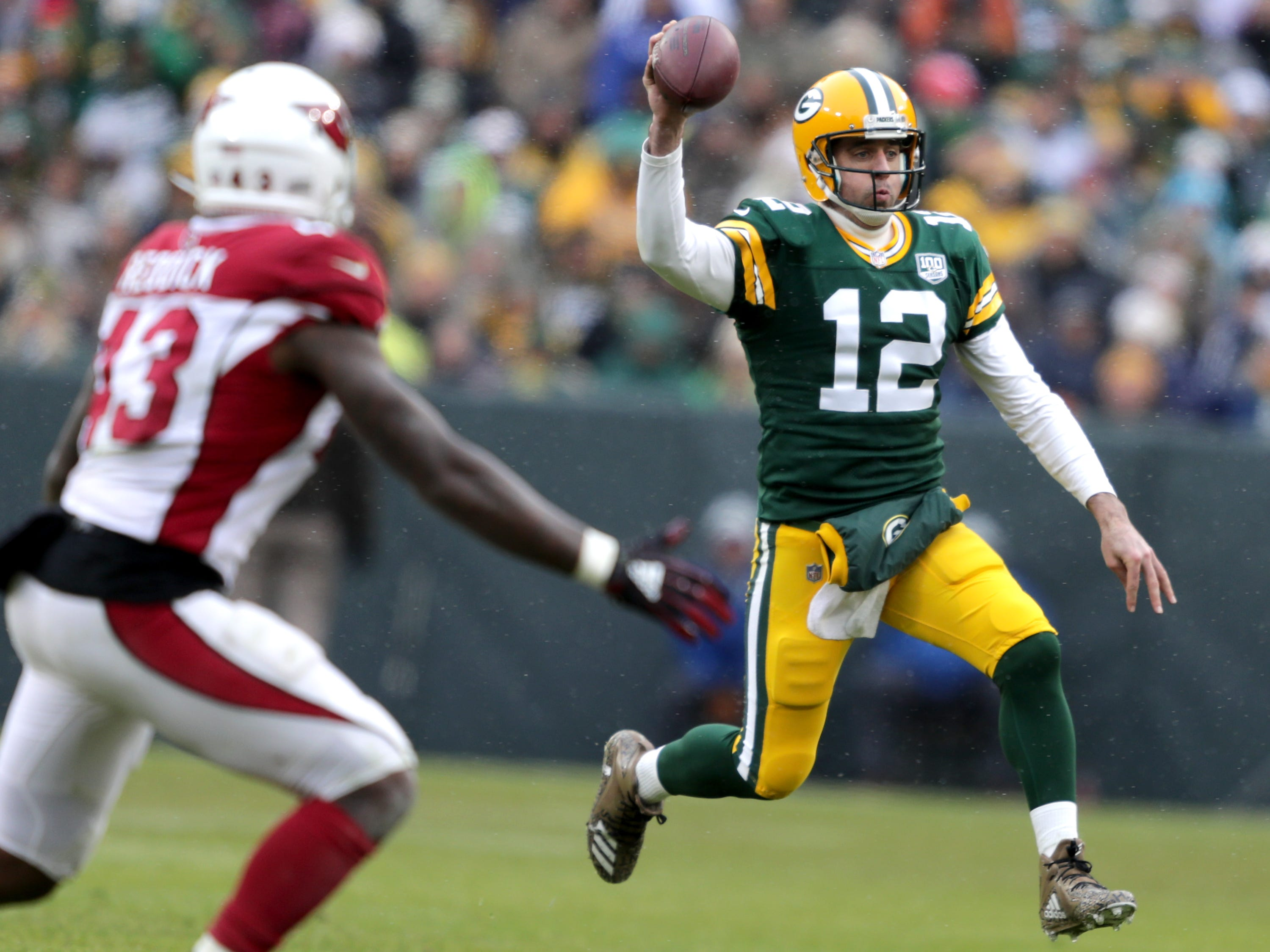 Green Bay Packers quarterback Aaron Rodgers against the Arizona Cardinals during their football game on Sunday, December 2, 2018, at Lambeau Field in Green Bay, Wis. Wm. Glasheen/USA TODAY NETWORK-Wisconsin.