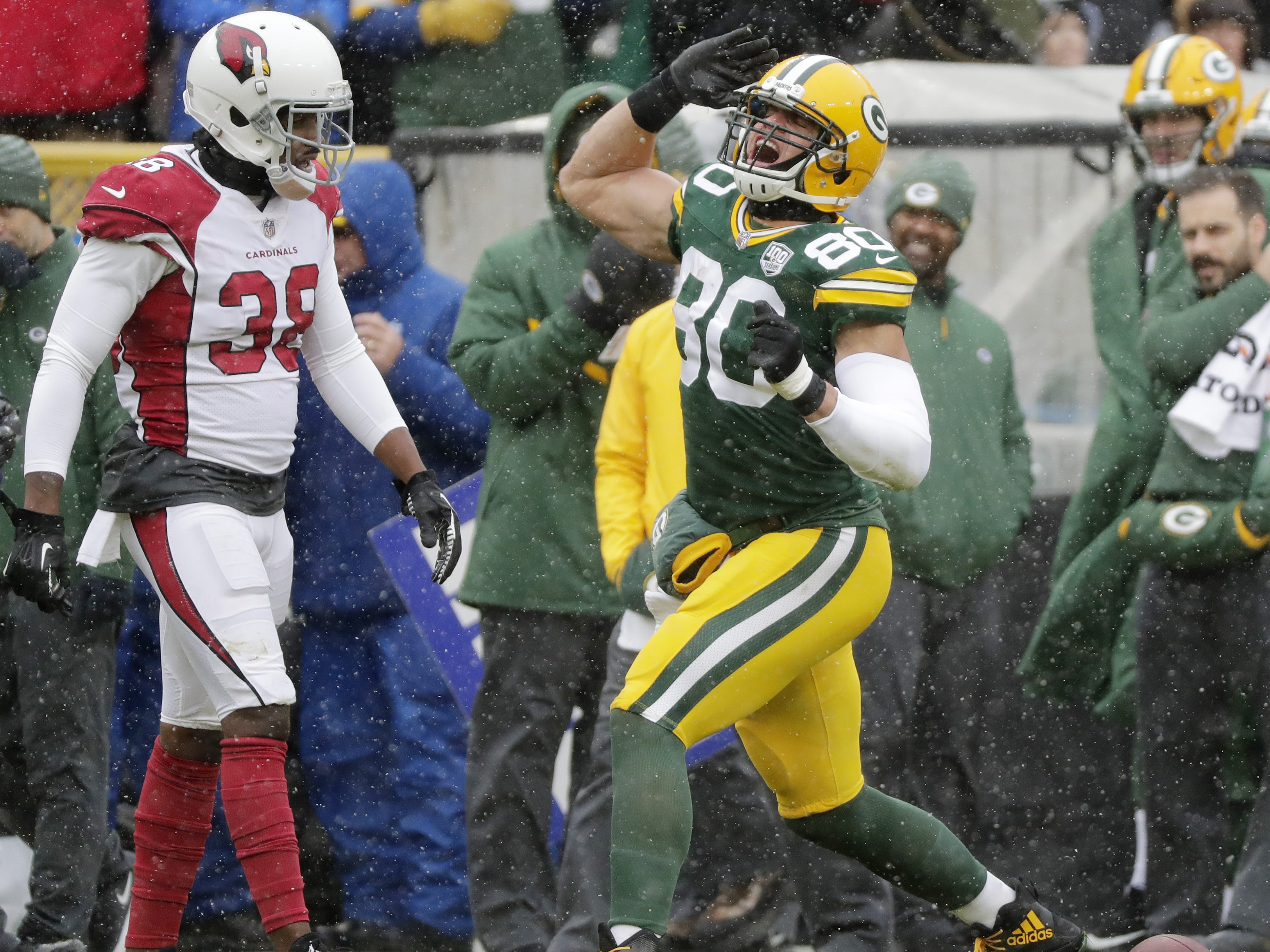 Green Bay Packers tight end Jimmy Graham (80) reacts after a catch for a first down in the first quarter against the Arizona Cardinals at Lambeau Field on Sunday, December 2, 2018 in Green Bay, Wis.