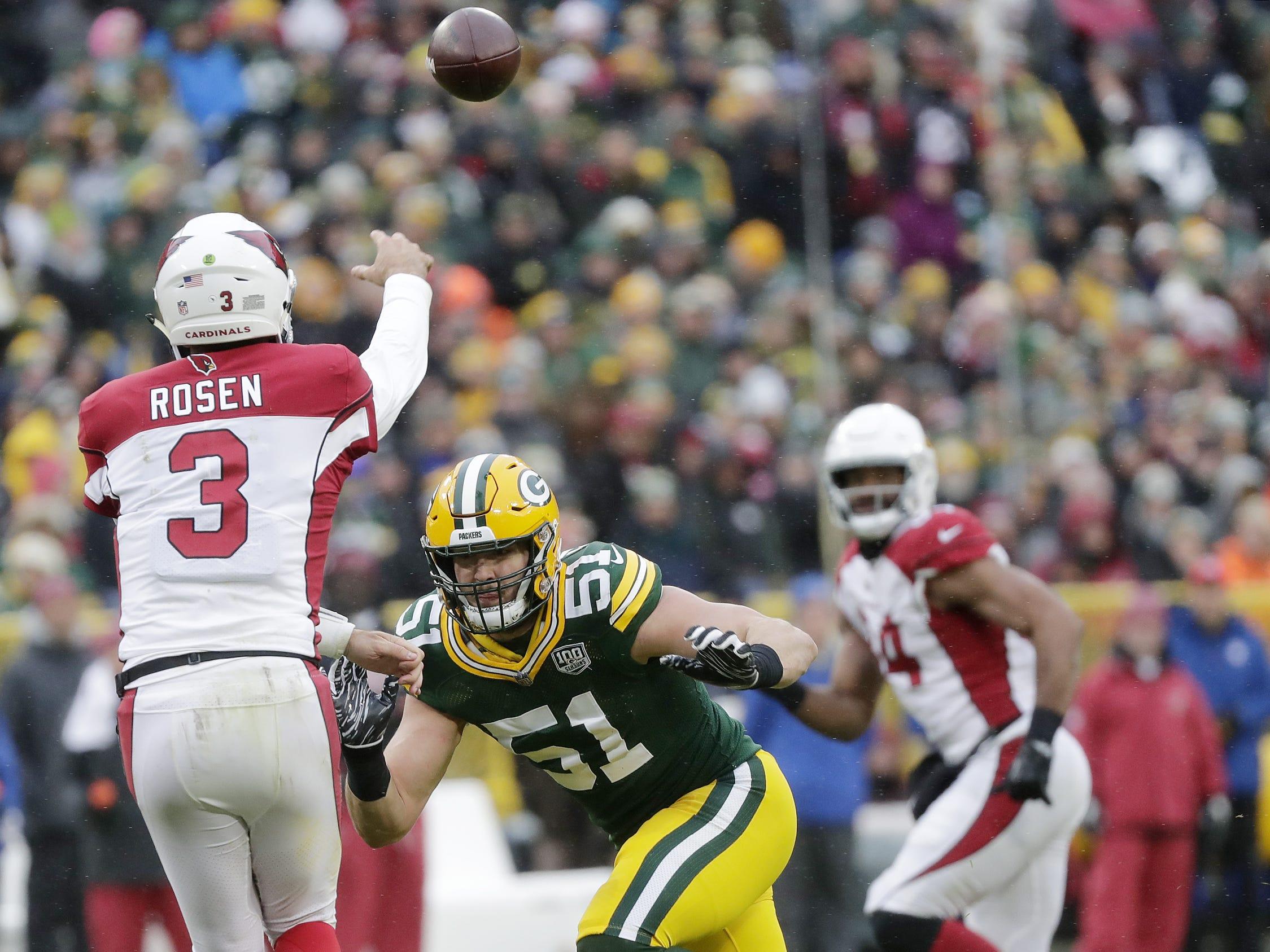 Green Bay Packers linebacker Kyler Fackrell (51) pressures Arizona Cardinals quarterback Josh Rosen (3) in the fourth quarter at Lambeau Field on Sunday, December 2, 2018 in Green Bay, Wis.