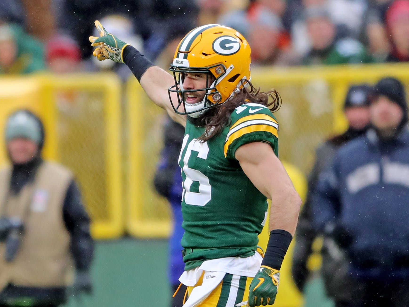 Green Bay Packers wide receiver Jake Kumerow (16) signals first down after his first NFL catch against the Arizona Cardinals Sunday, December 2, 2018 at Lambeau Field in Green Bay, Wis. Jim Matthews/USA TODAY NETWORK-Wis