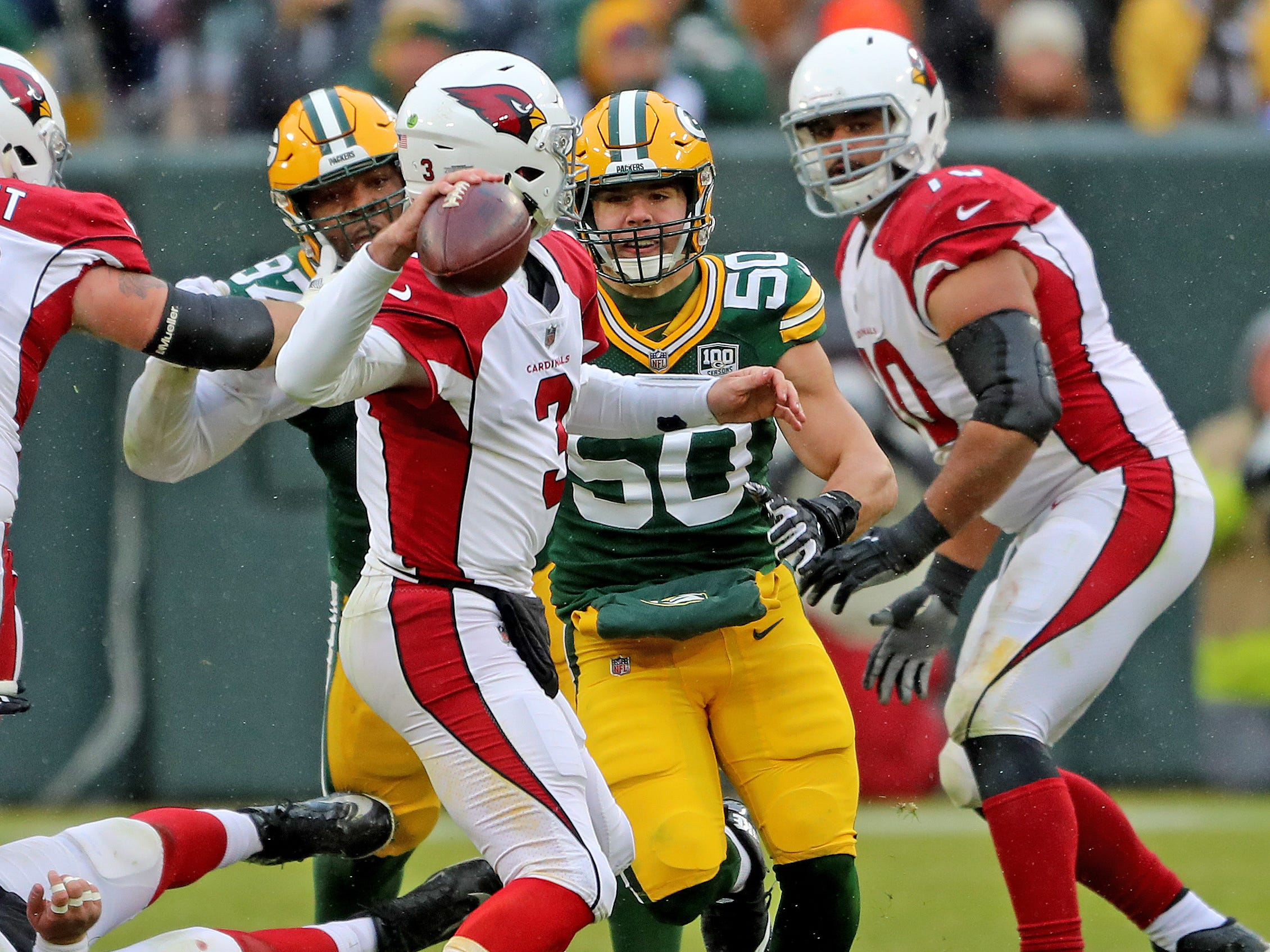 Green Bay Packers inside linebacker Blake Martinez (50) pressures quarterback Josh Rosen (3) against the Arizona Cardinals Sunday, December 2, 2018 at Lambeau Field in Green Bay, Wis. Jim Matthews/USA TODAY NETWORK-Wis