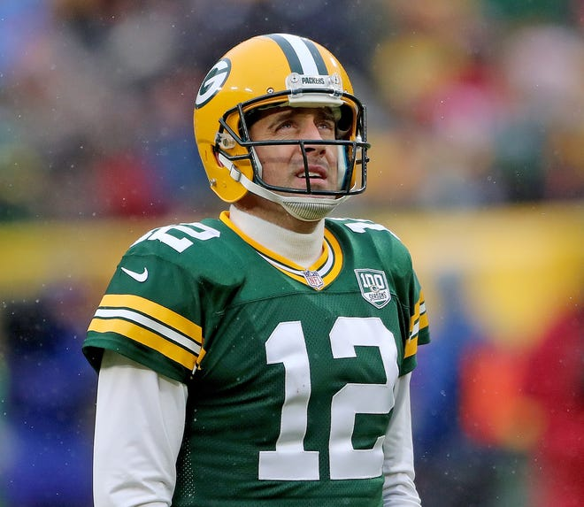 -Green Bay Packers quarterback Aaron Rodgers (12) looks at the video board after an incompletion against the Arizona Cardinals Sunday, December 2, 2018 at Lambeau Field in Green Bay, Wis. Jim Matthews/USA TODAY NETWORK-Wis