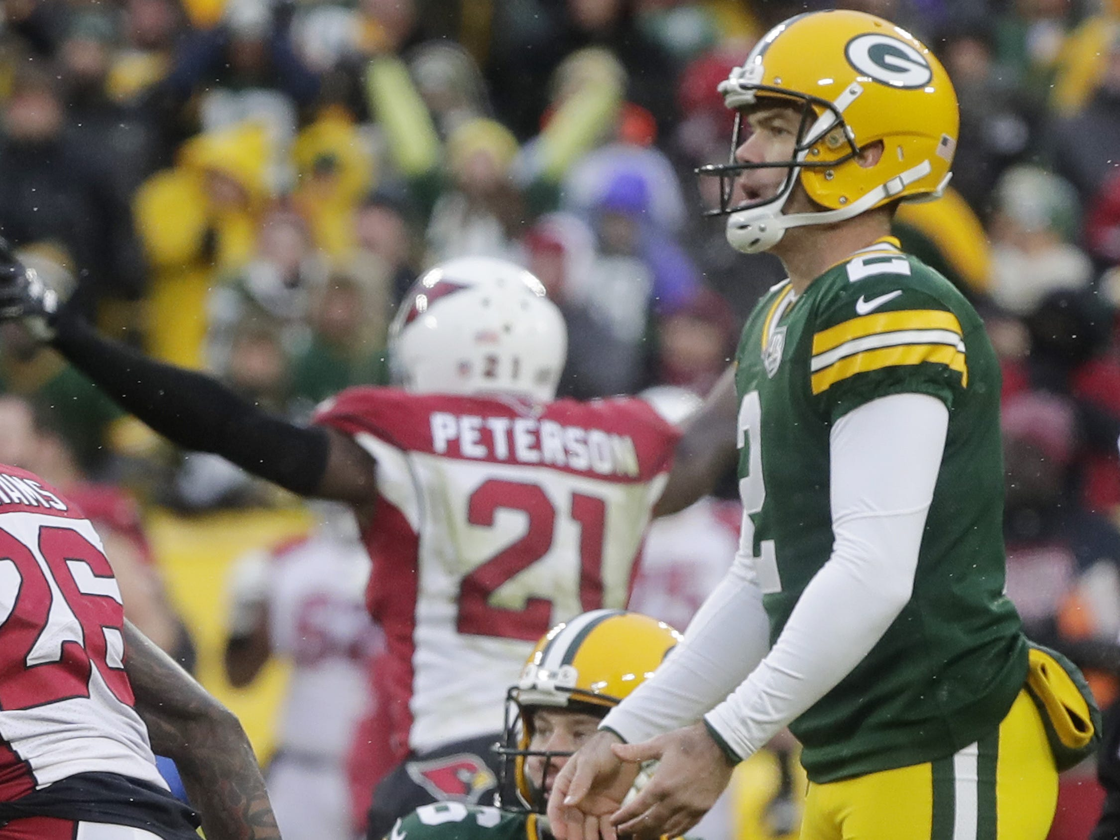 Green Bay Packers kicker Mason Crosby (2) reacts after missing a field goal as time-expired against the Arizona Cardinals at Lambeau Field on Sunday, December 2, 2018 in Green Bay, Wis.