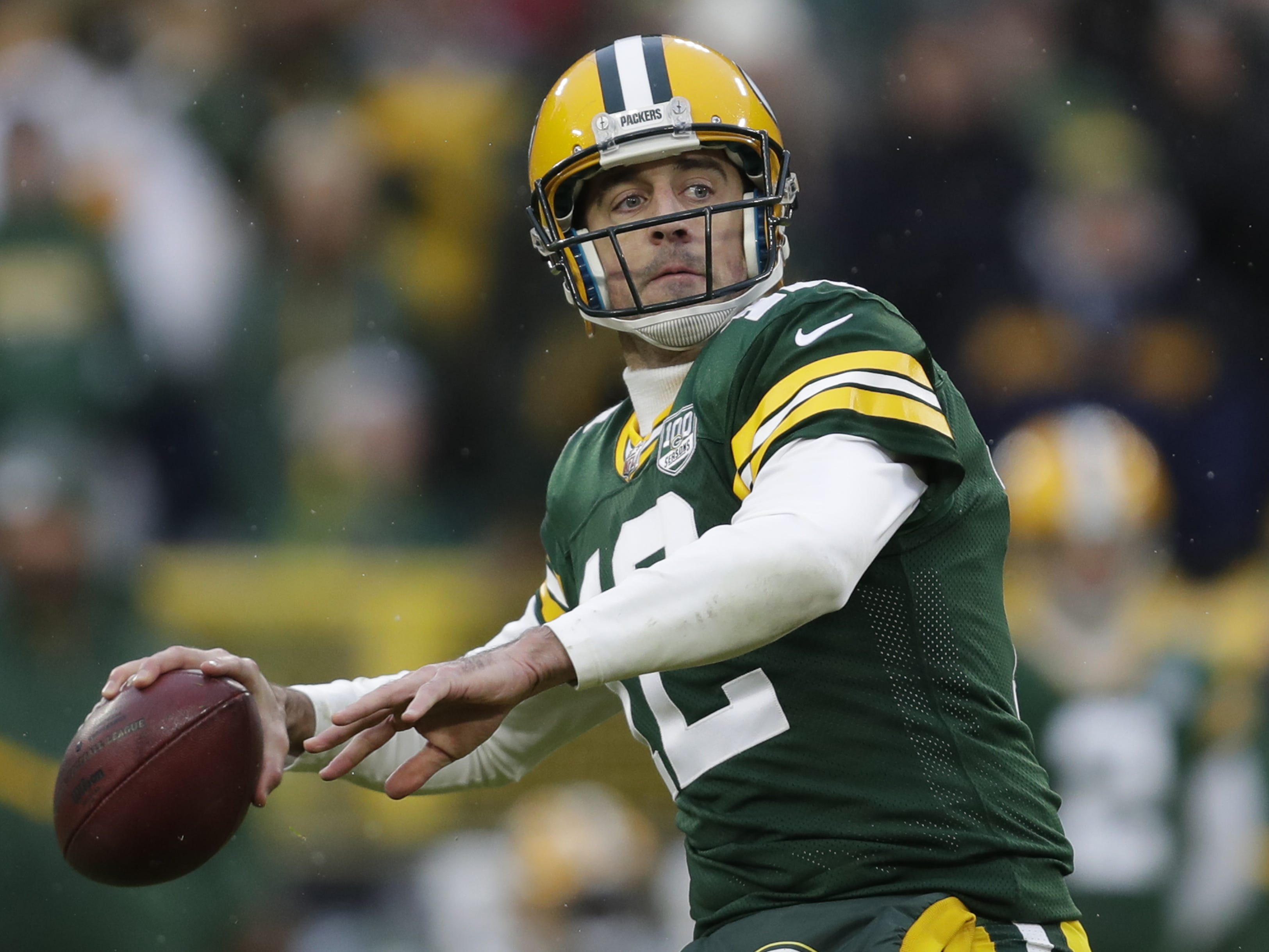 Green Bay Packers quarterback Aaron Rodgers (12) throws an incomplete long pass attempt late in the fourth quarter against the Arizona Cardinals Sunday, December 2, 2018, at Lambeau Field in Green Bay, Wis.  Dan Powers/USA TODAY NETWORK-Wisconsin