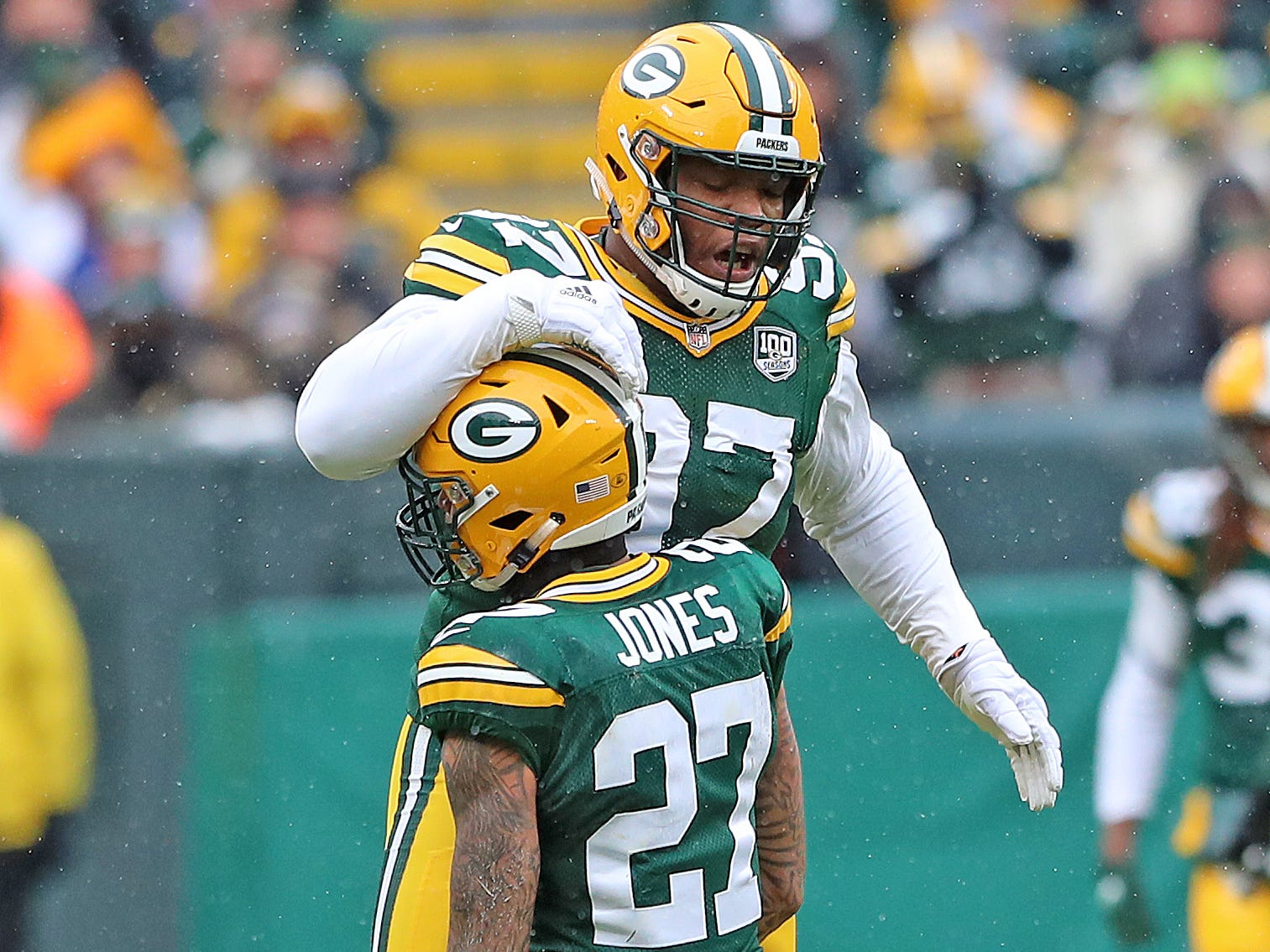 Green Bay Packers nose tackle Kenny Clark (97) celebrates with defensive back Josh Jones (27) after a Jones sack against the Arizona Cardinals Sunday, December 2, 2018 at Lambeau Field in Green Bay, Wis. Jim Matthews/USA TODAY NETWORK-Wis