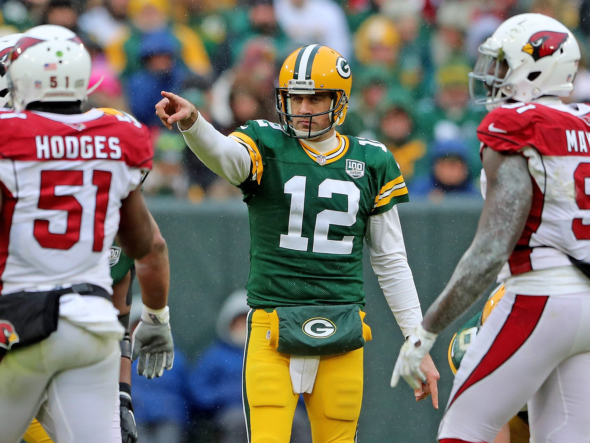 Green Bay Packers quarterback Aaron Rodgers (12) points at the defense after a flag in the game against the Arizona Cardinals Sunday, December 2, 2018 at Lambeau Field in Green Bay, Wis.  Jim Matthews/USA TODAY NETWORK-Wis