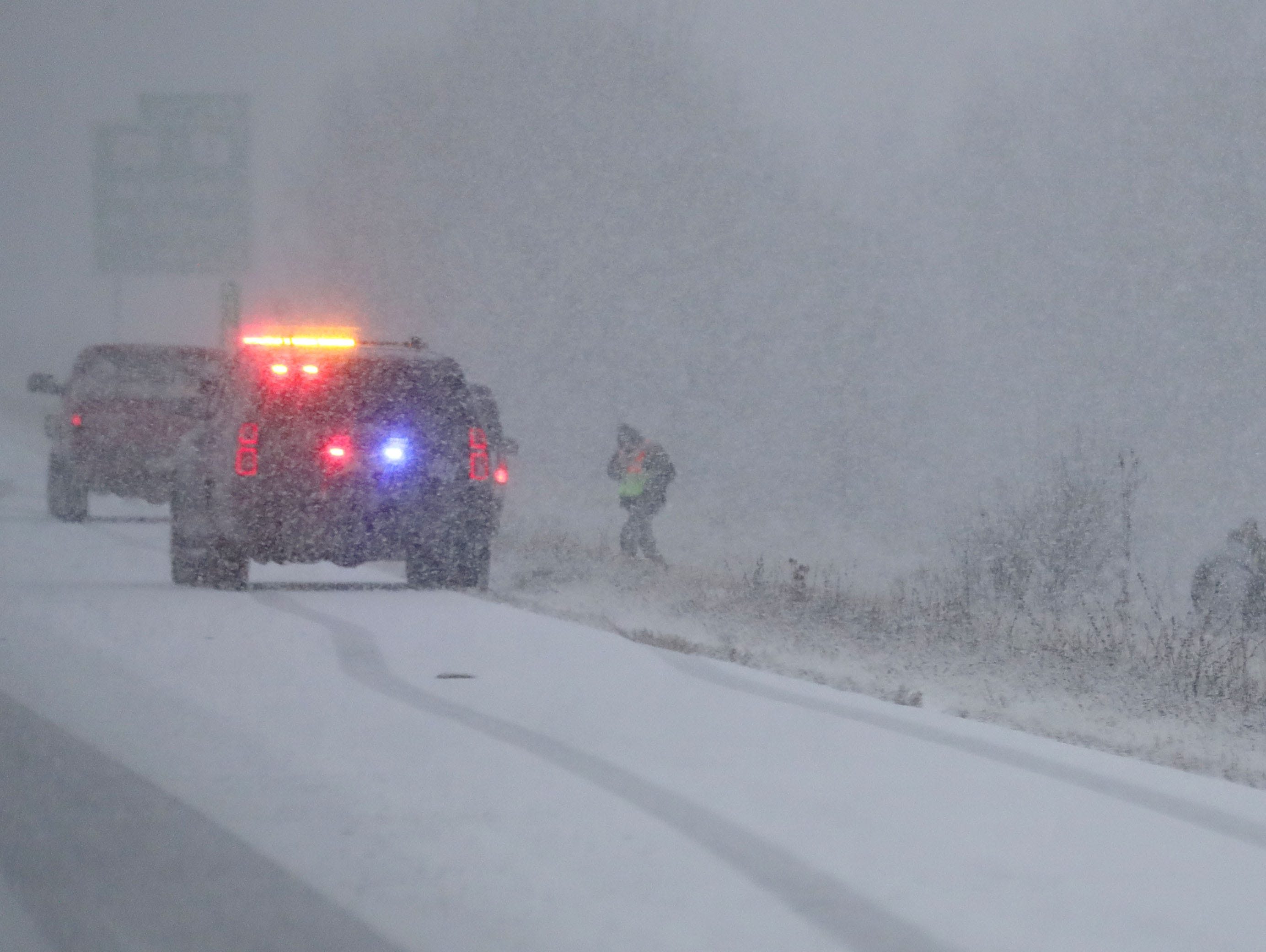 Multiple accidents and spinouts were seen on I-43 like this one near Sheboygan before the Green Bay Packers game against the Arizona Cardinals at Lambeau Field in Green Bay, Wis. on Sunday, December 2, 2018.