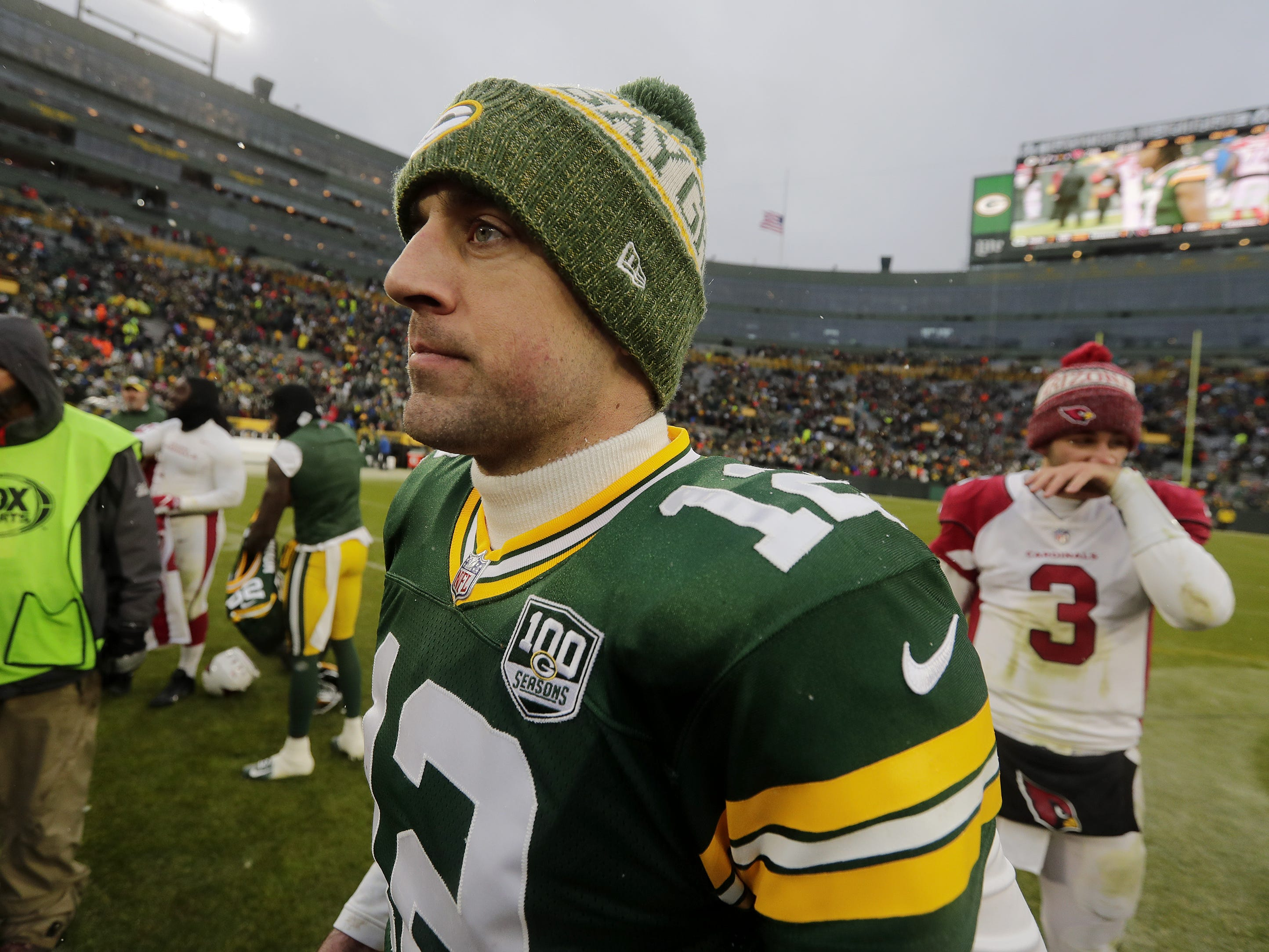 Green Bay Packers quarterback Aaron Rodgers (12) walks off the field after the Packers lost to the Arizona Cardinals at Lambeau Field on Sunday, December 2, 2018 in Green Bay, Wis.