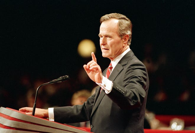 1988 AP photo George H.W. Bush accepts his nomination as the GOP presidential candidate at the Republican convention in New Orleans on Aug. 18, 1988.