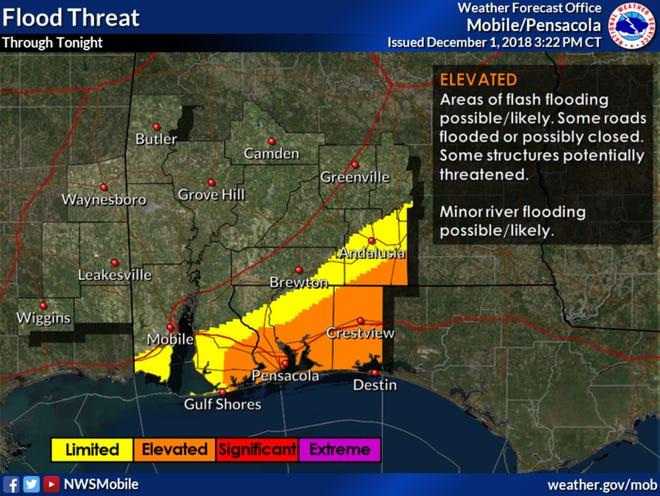 Flood threat for Saturday, Dec. 1.