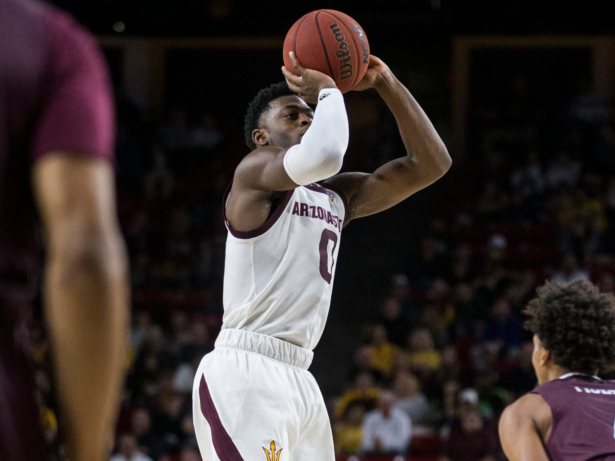 Arizona State's Luguentz Dort attempts a shot against Texas Southern in the first half on Saturday, Dec. 1, 2018, at Wells Fargo Arena in Tempe, Ariz.