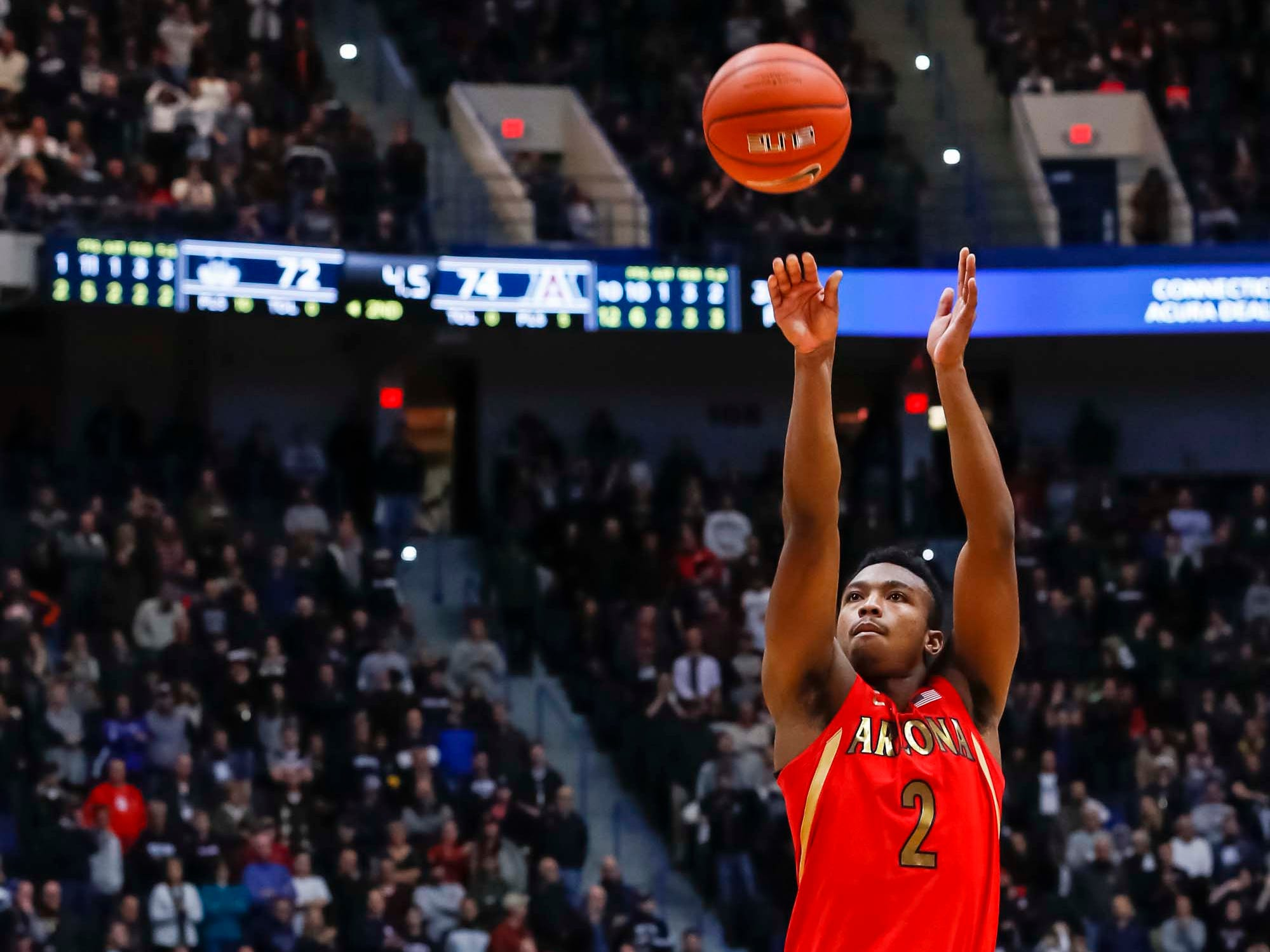 Dec 2, 2018; Storrs, CT, USA; Arizona Wildcats guard Brandon Williams (2) makes the free-throw basket in the last seconds of play against the Connecticut Huskies in the second half at XL Center. Arizona defeated UConn 76-72. Mandatory Credit: David Butler II-USA TODAY Sports