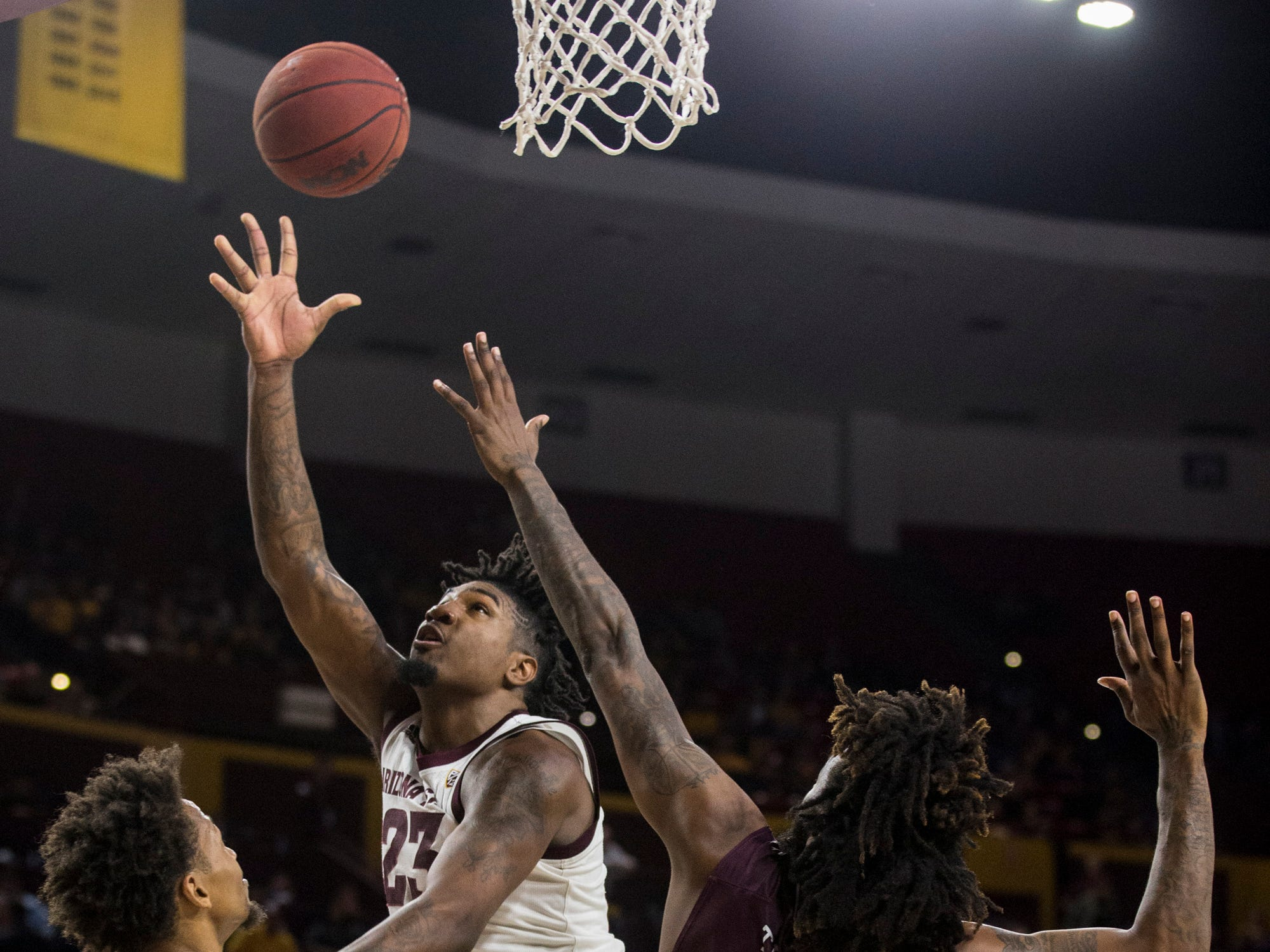 Arizona State's Romello White attempts a layup against Texas Southern in the second half on Saturday, Dec. 1, 2018, at Wells Fargo Arena in Tempe, Ariz.