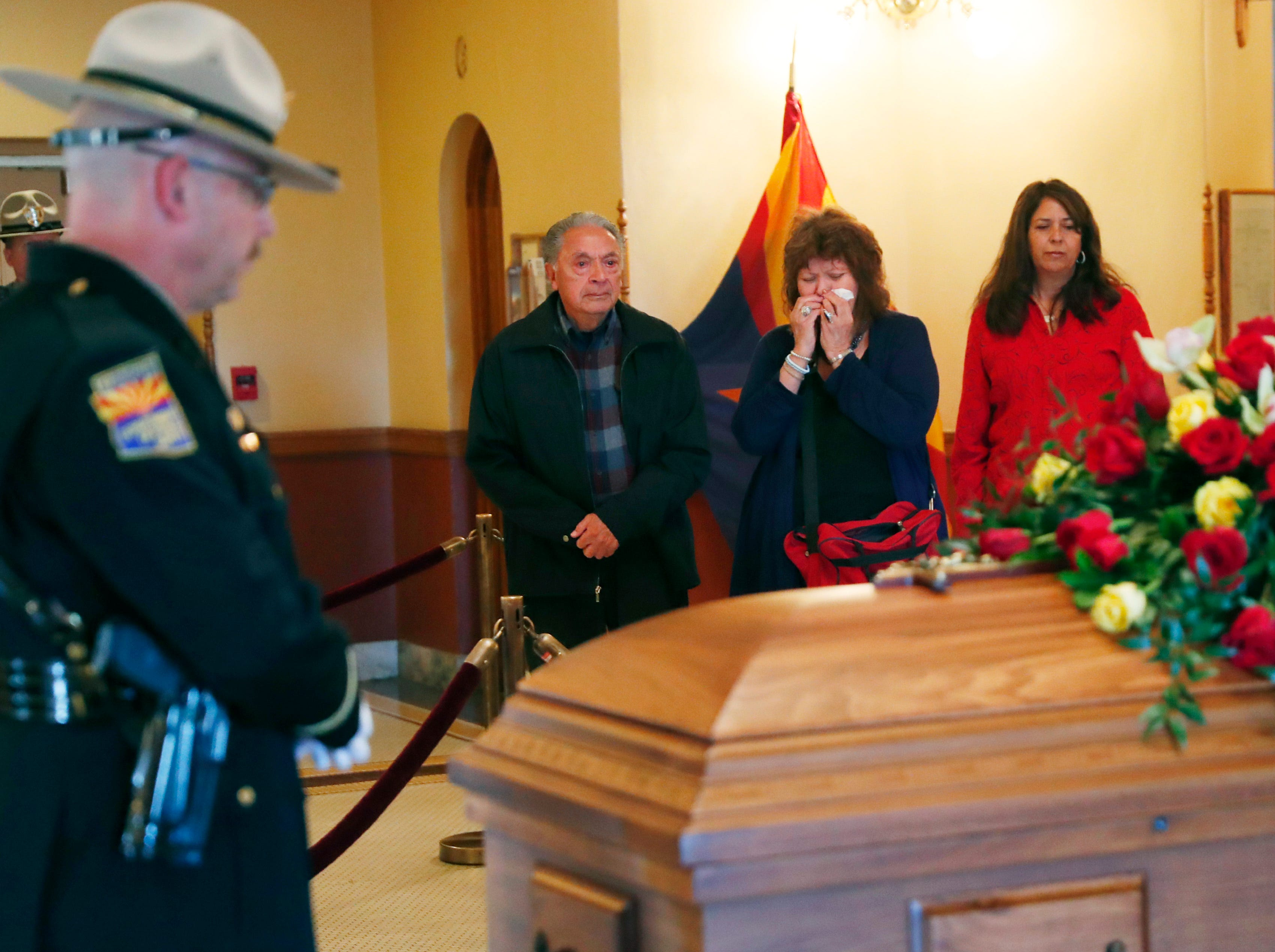 Mourners pay their respect to former U.S. Rep. Ed Pastor as he lies in state at the Arizona Capitol, Dec. 2, 2018.