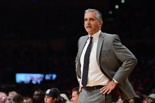 Dec 2, 2018; Los Angeles, CA, USA; Phoenix Suns head coach Igor Kokoskov during the first quarter against the Los Angeles Lakers at Staples Center. Mandatory Credit: Robert Hanashiro-USA TODAY Sports