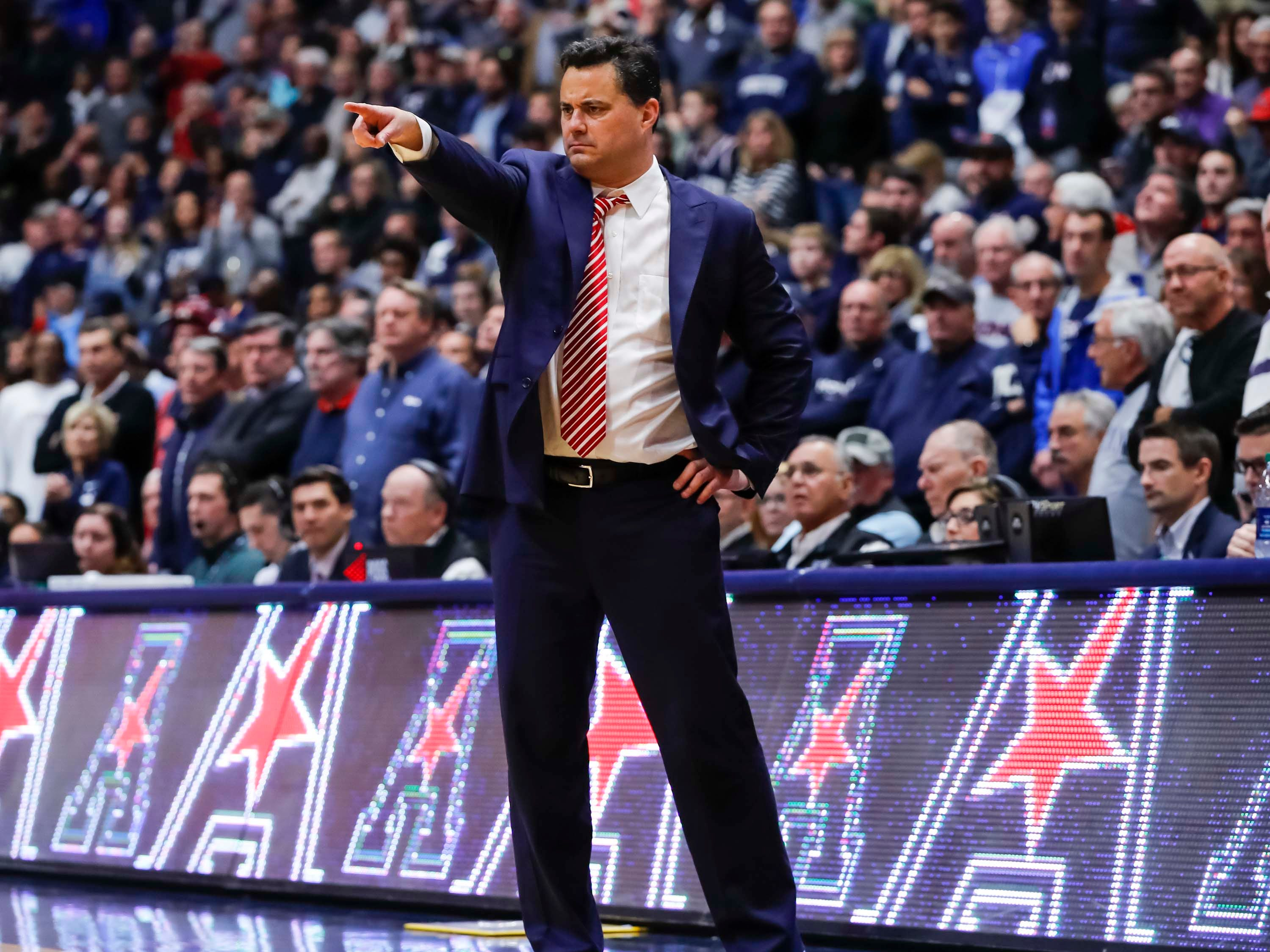 Dec 2, 2018; Storrs, CT, USA; Arizona Wildcats head coach Sean Miller watches from the sideline as they take on the Connecticut Huskies in the second half at XL Center. Arizona defeated UConn 76-72. Mandatory Credit: David Butler II-USA TODAY Sports