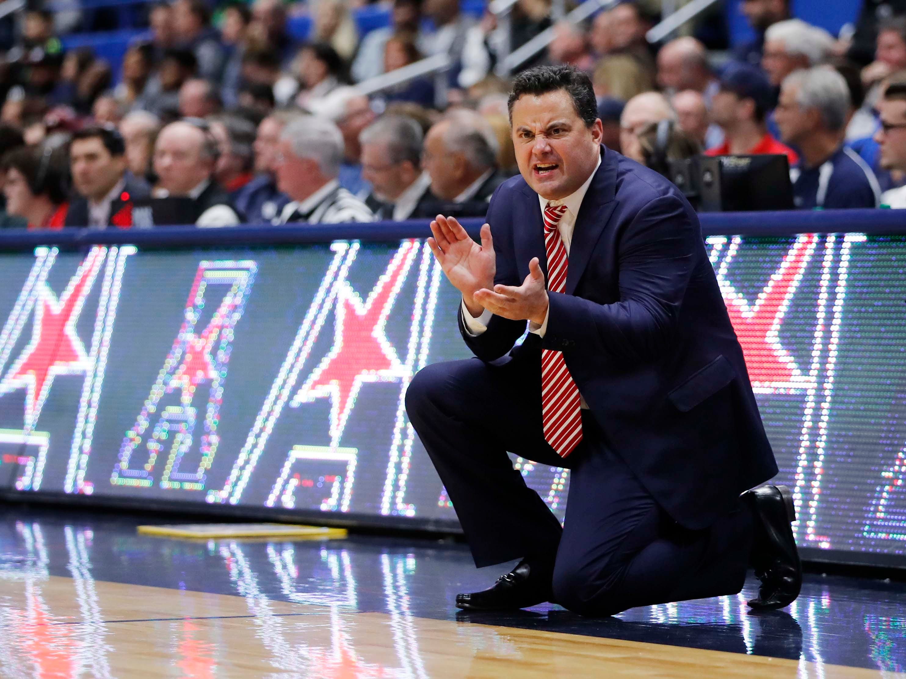 Dec 2, 2018: Arizona Wildcats head coach Sean Miller watches from the sideline as they take on the Connecticut Huskies in the first half at XL Center.